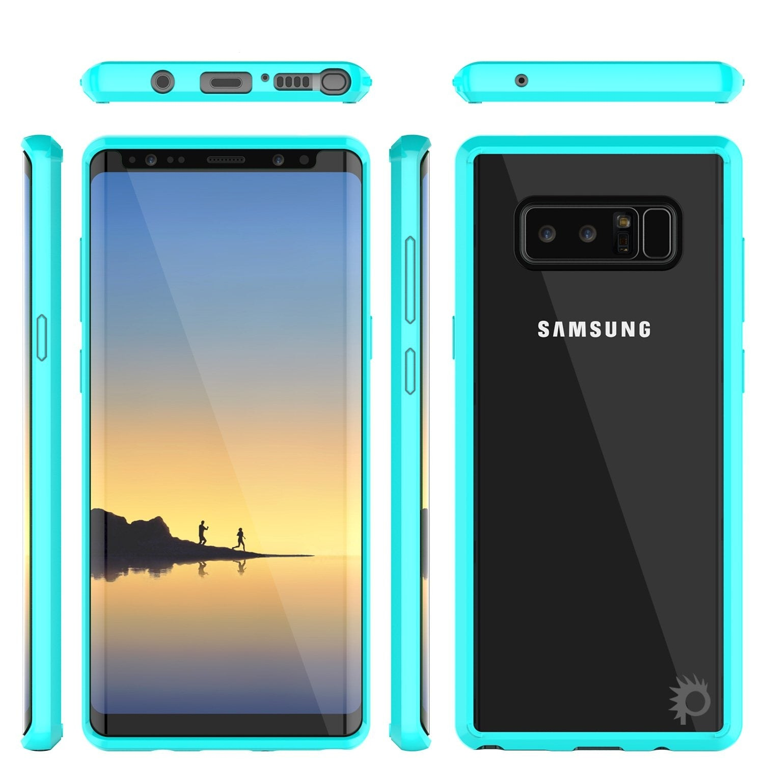 Galaxy Note 8 Screen Protector W/ Anti-Shock Proof Slim Case [Teal]