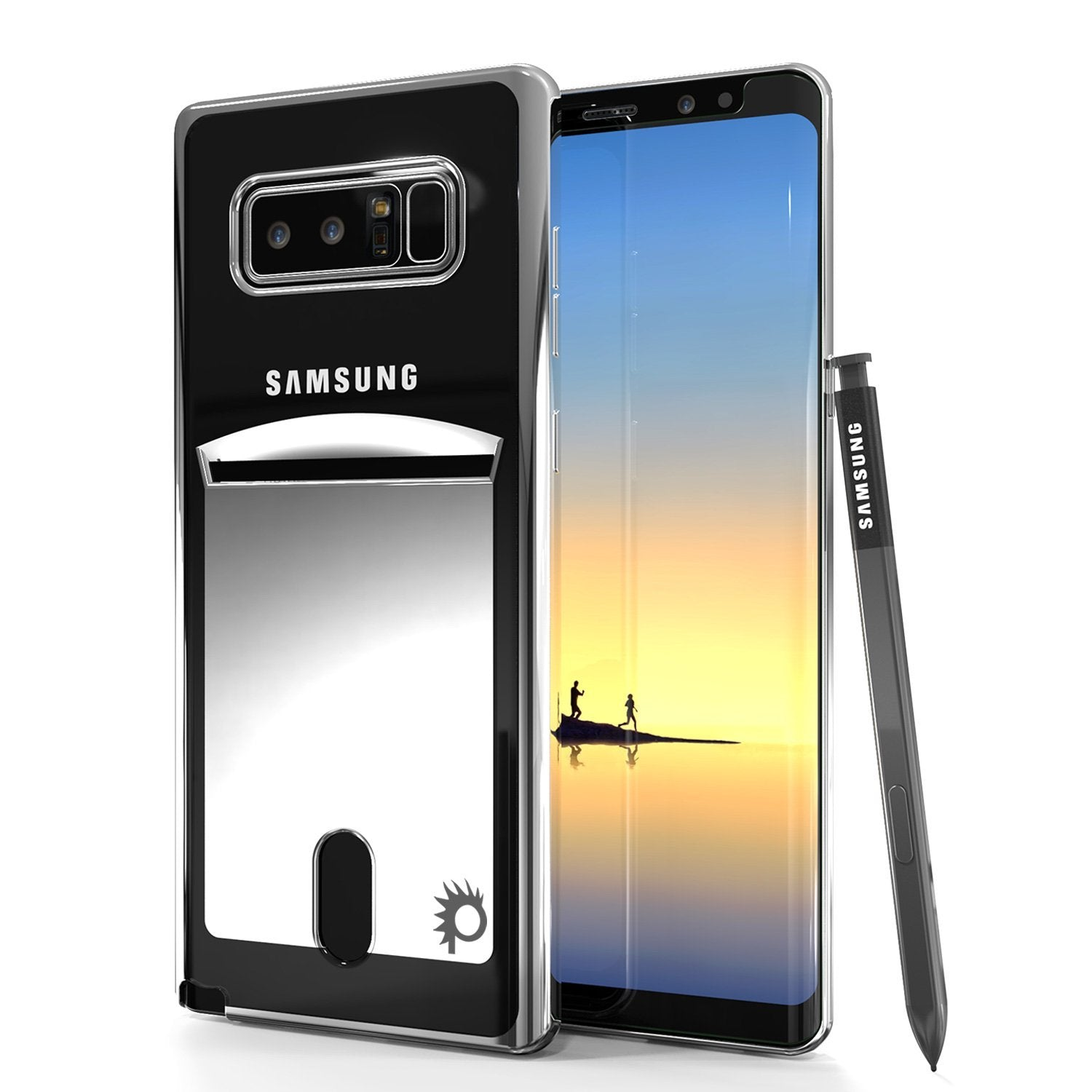 Galaxy Note 8 Case, PUNKCASE® LUCID Silver Series | Card Slot | SHIELD Screen Protector | Ultra fit