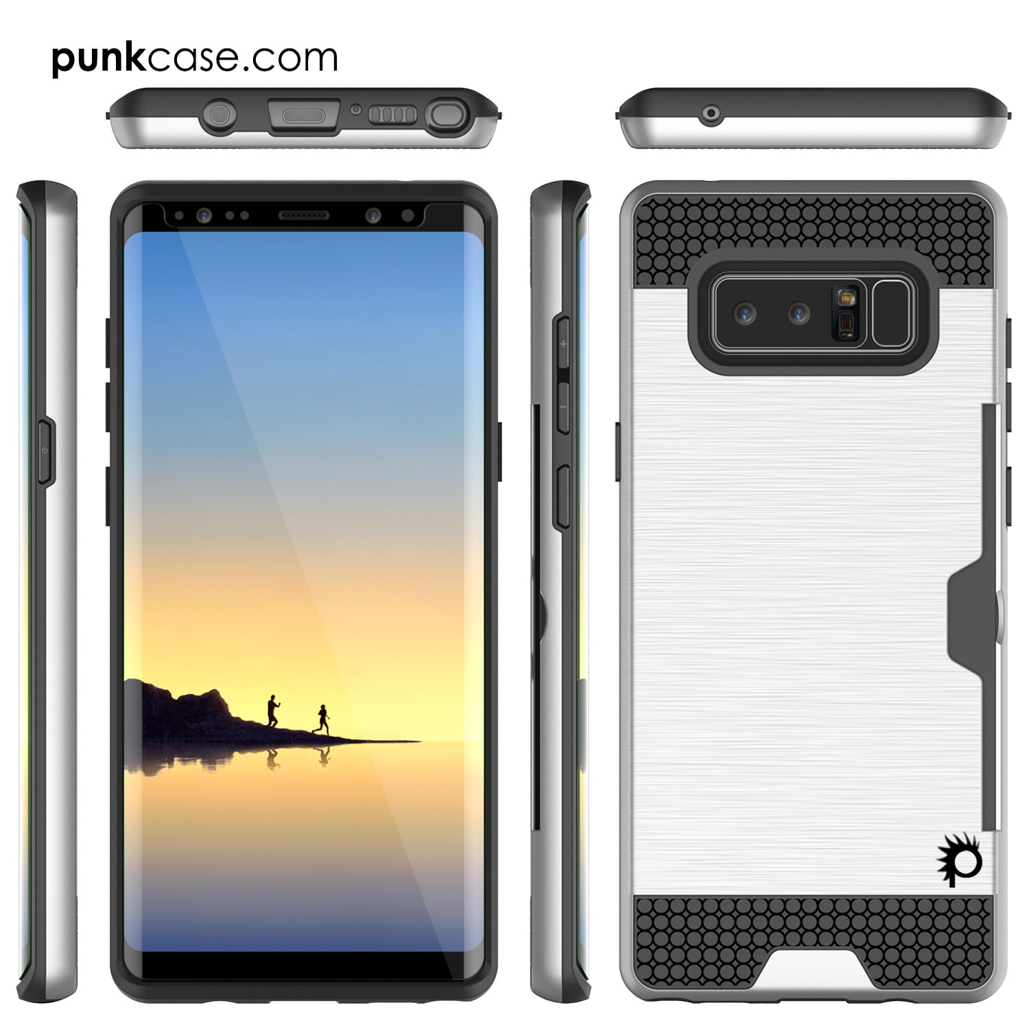 Galaxy Note 8 Dual-Layer Ultra Screen Protector Case W/ Card Slot [Silver]
