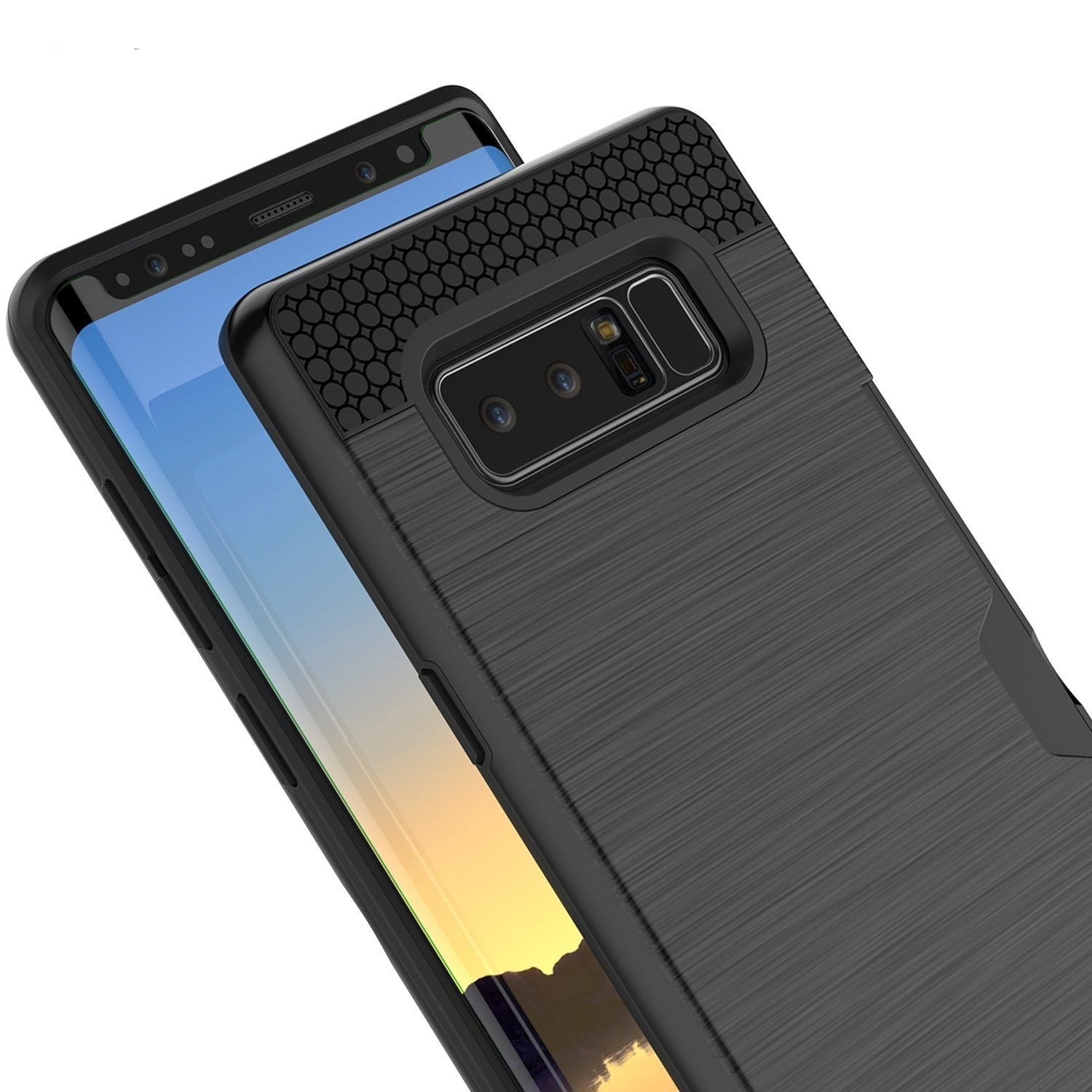 Galaxy Note 8 Dual-Layer Ultra Screen Protector Case W/ Card Slot [Black]