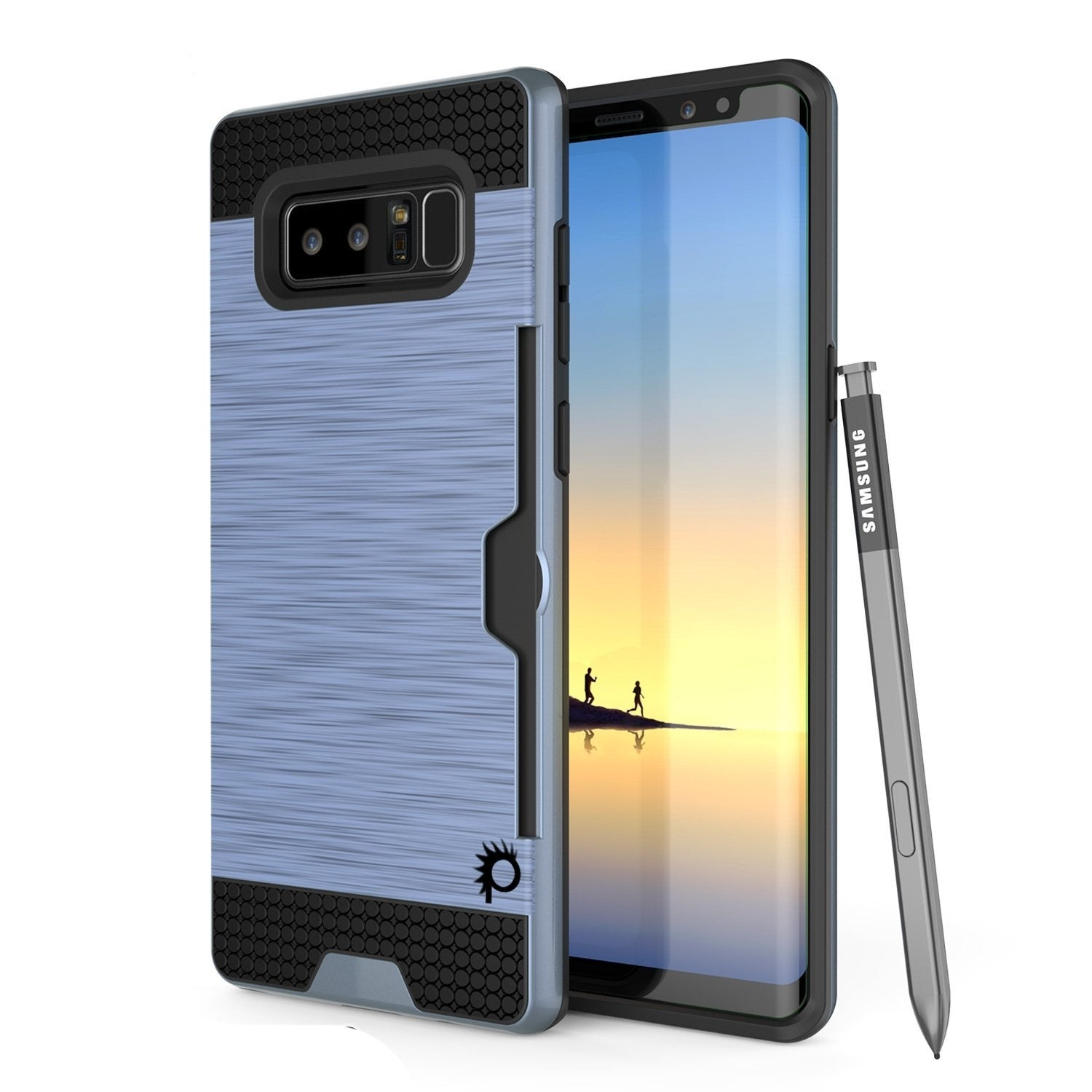 Galaxy Note 8 Dual-Layer Ultra Screen Protector Case W/ Card Slot [Navy]