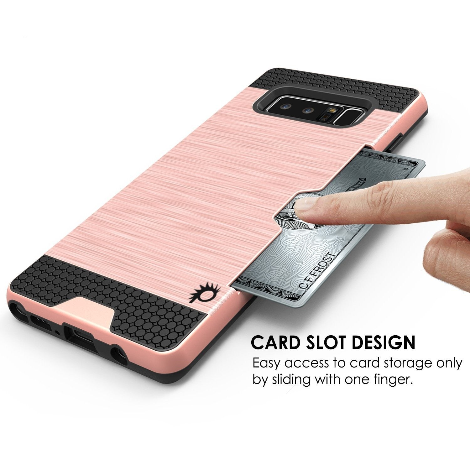Galaxy Note 8 Dual-Layer Ultra Screen Protector Case W/ Card Slot [Rose]