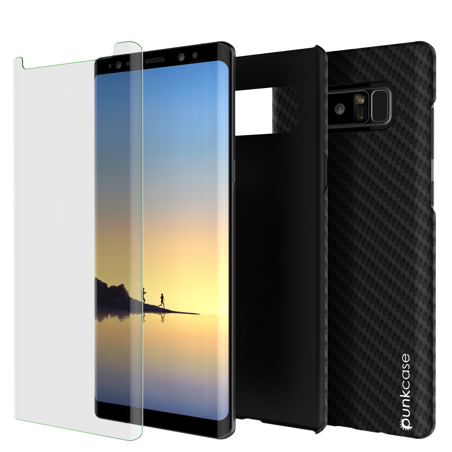 Galaxy Note 8 Case, Punkcase CarbonShield, Heavy Duty & Ultra Thin 2 Piece Dual Layer PU Leather Cover [shockproof] with Screen Protector [jet black]