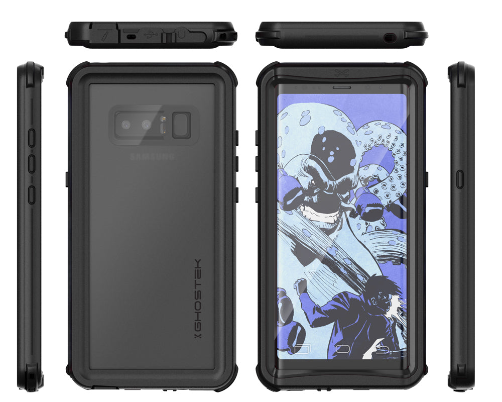 Galaxy Note 8, Ghostek Nautical Series Waterproof Case for Samsung Galaxy Note 8 Heavy Duty | Black