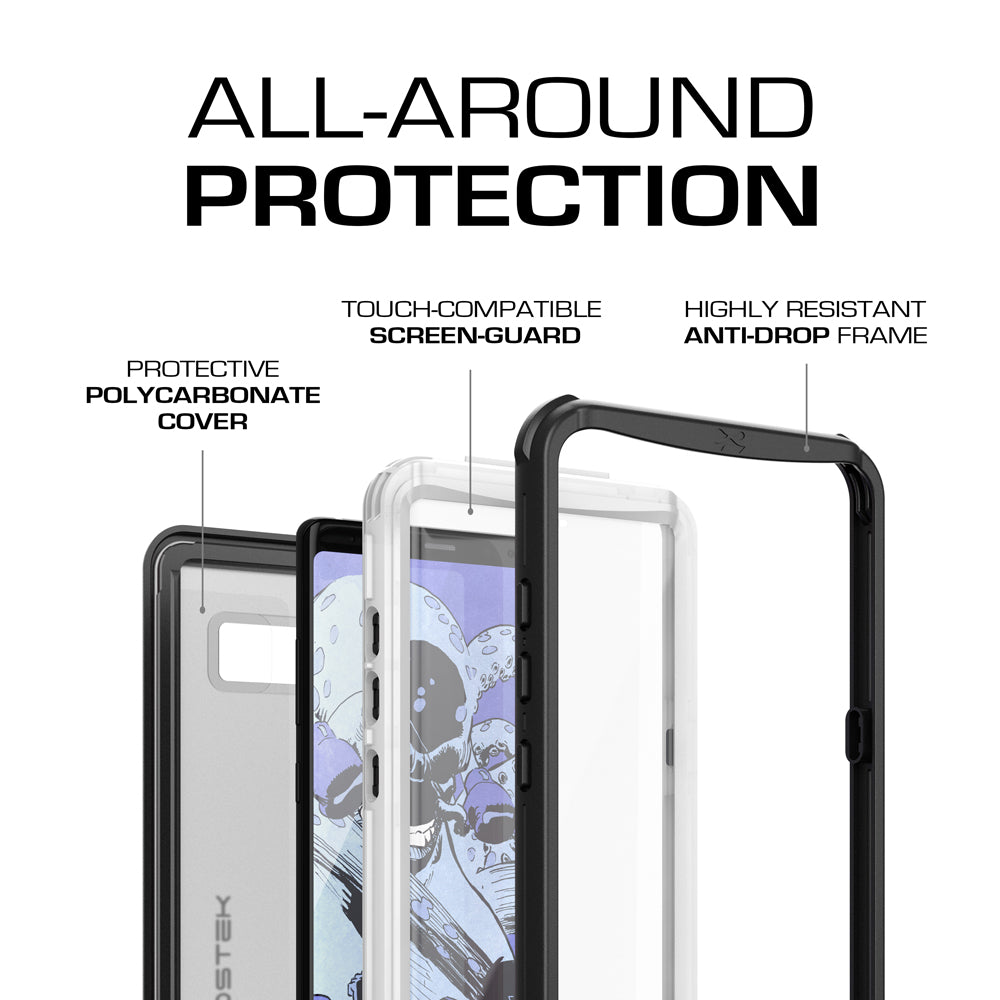 Galaxy Note 8 Case, Ghostek Nautical Slim Shockproof Waterproof Armor Cover | White