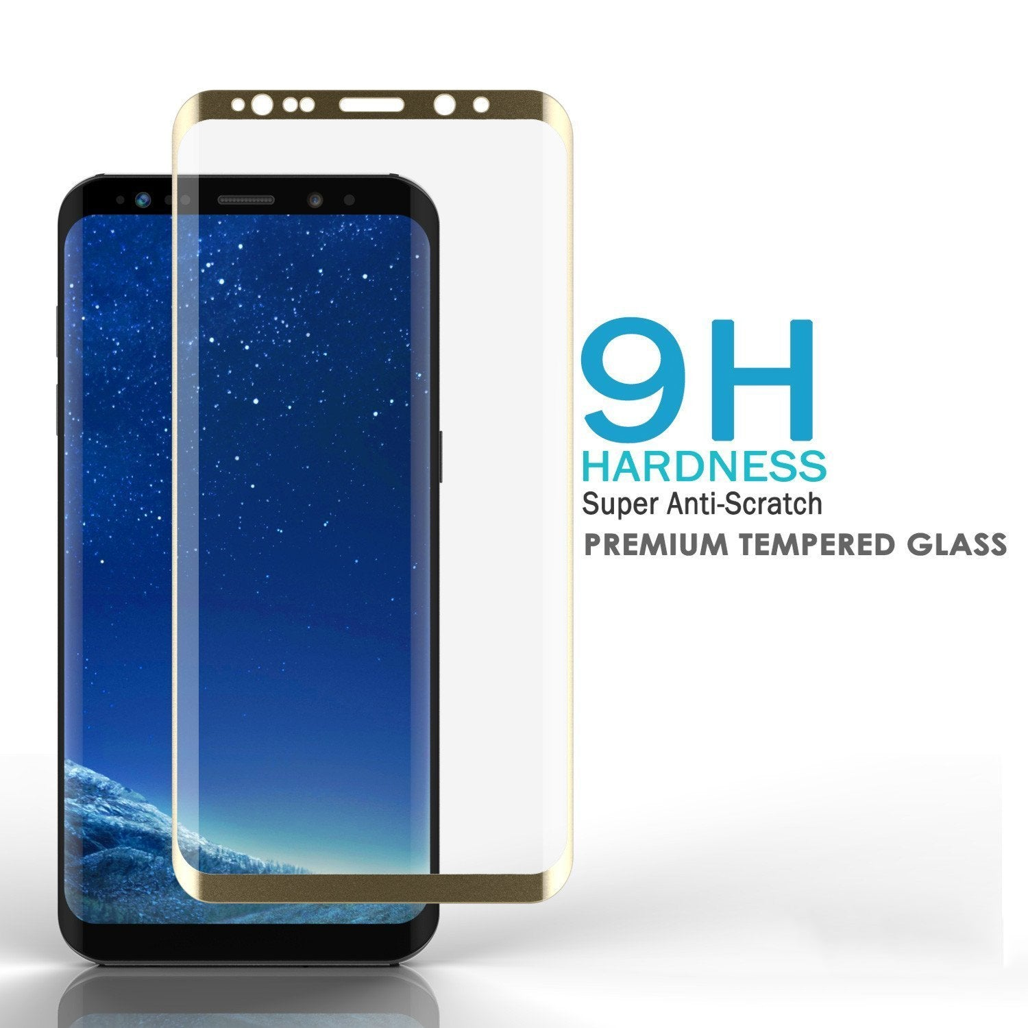 Galaxy S8  Gold Punkcase Glass SHIELD Tempered Glass Screen Protector 0.33mm Thick 9H Glass