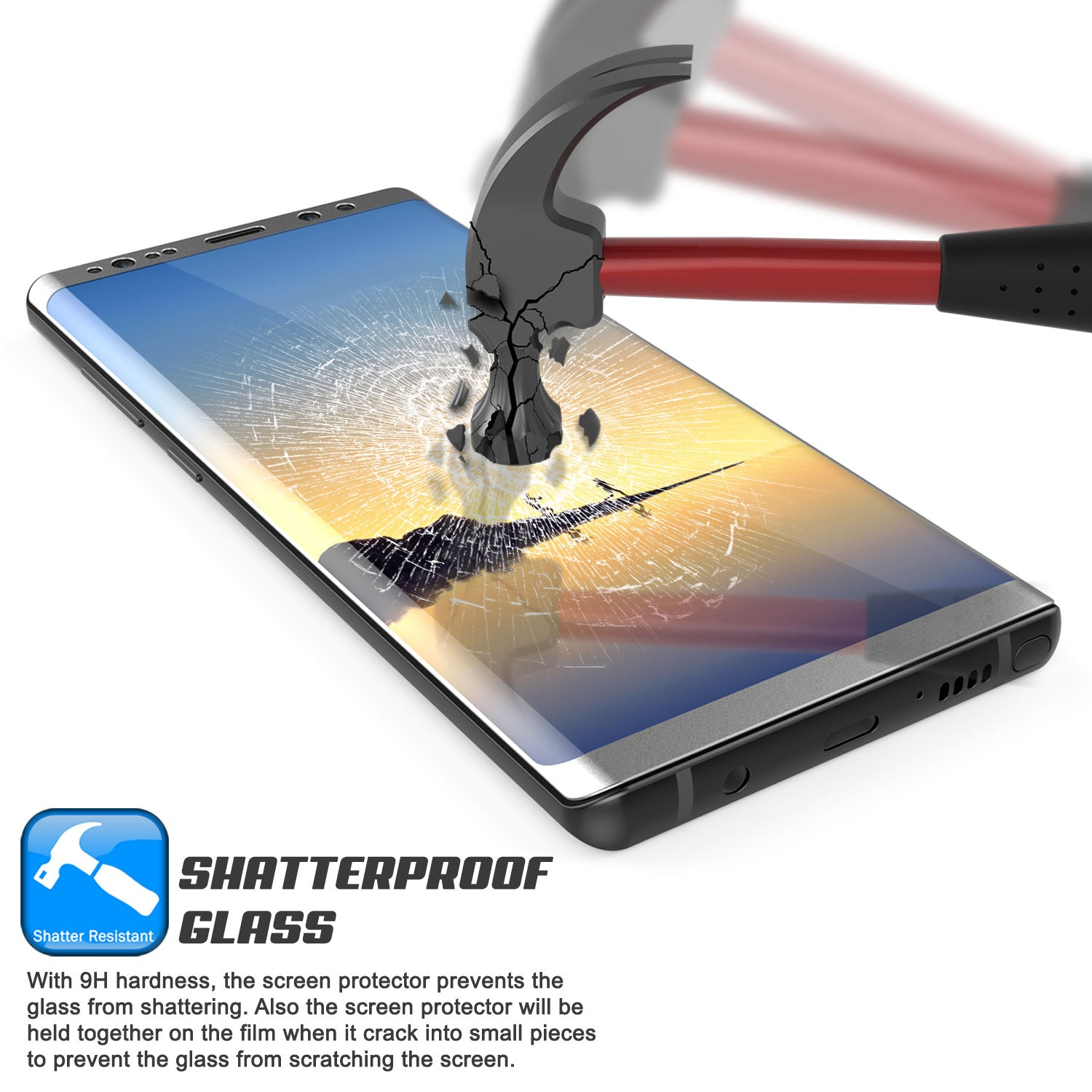 Galaxy Note 8  Silver Punkcase Glass SHIELD Tempered Glass Screen Protector 0.33mm Thick 9H Glass