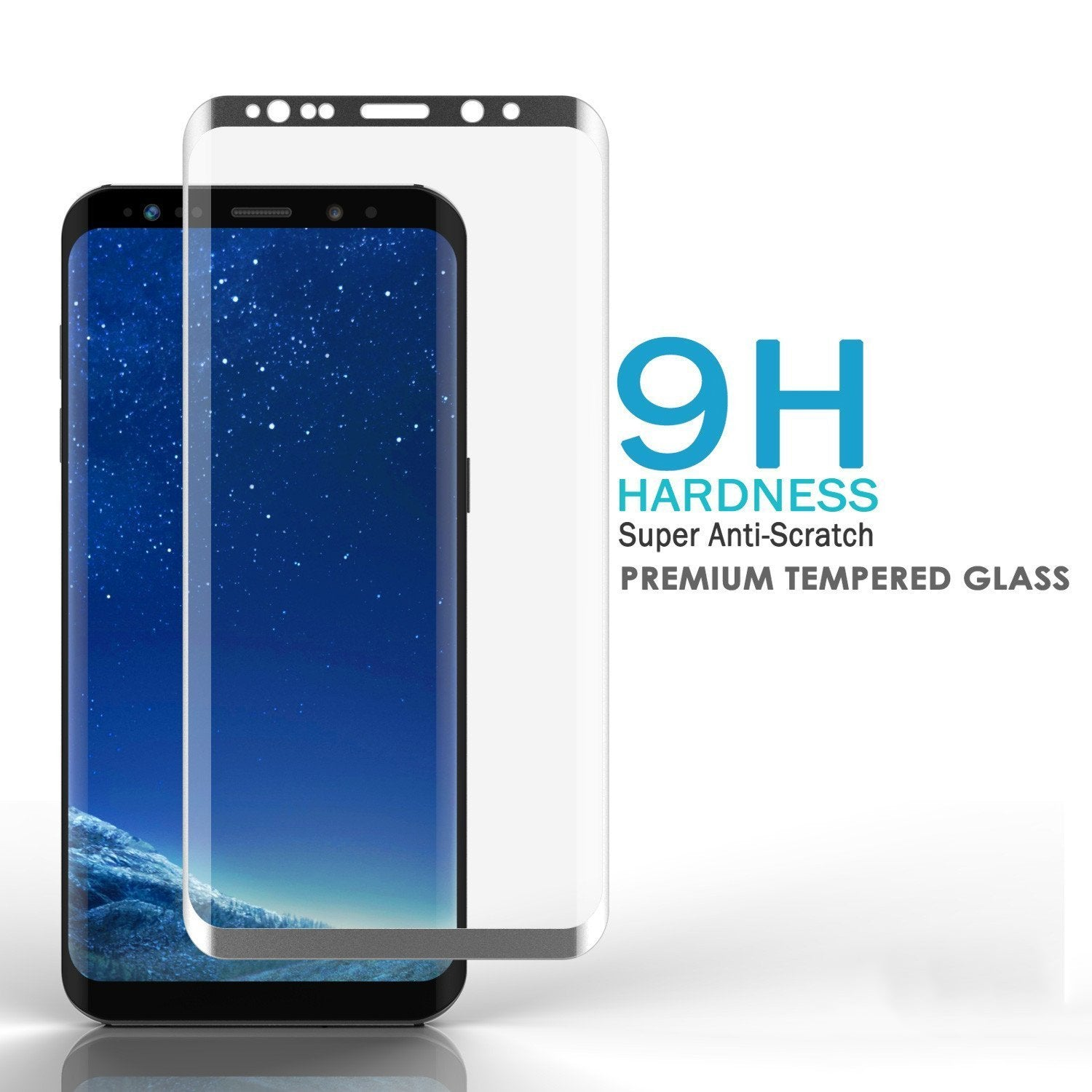 Galaxy S8+ Plus  Silver Punkcase Glass SHIELD Tempered Glass Screen Protector 0.33mm Thick 9H Glass