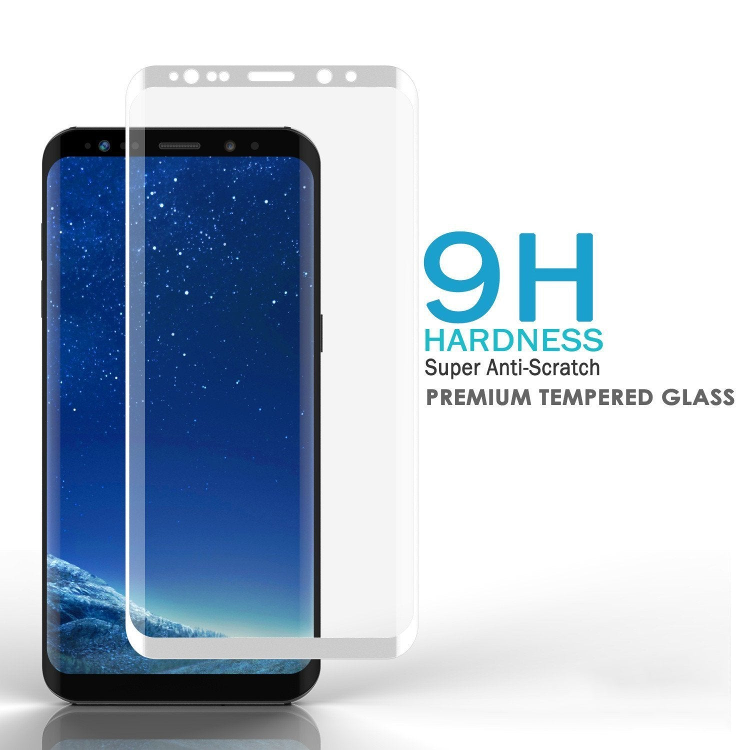 Galaxy S8  White Punkcase Glass SHIELD Tempered Glass Screen Protector 0.33mm Thick 9H Glass