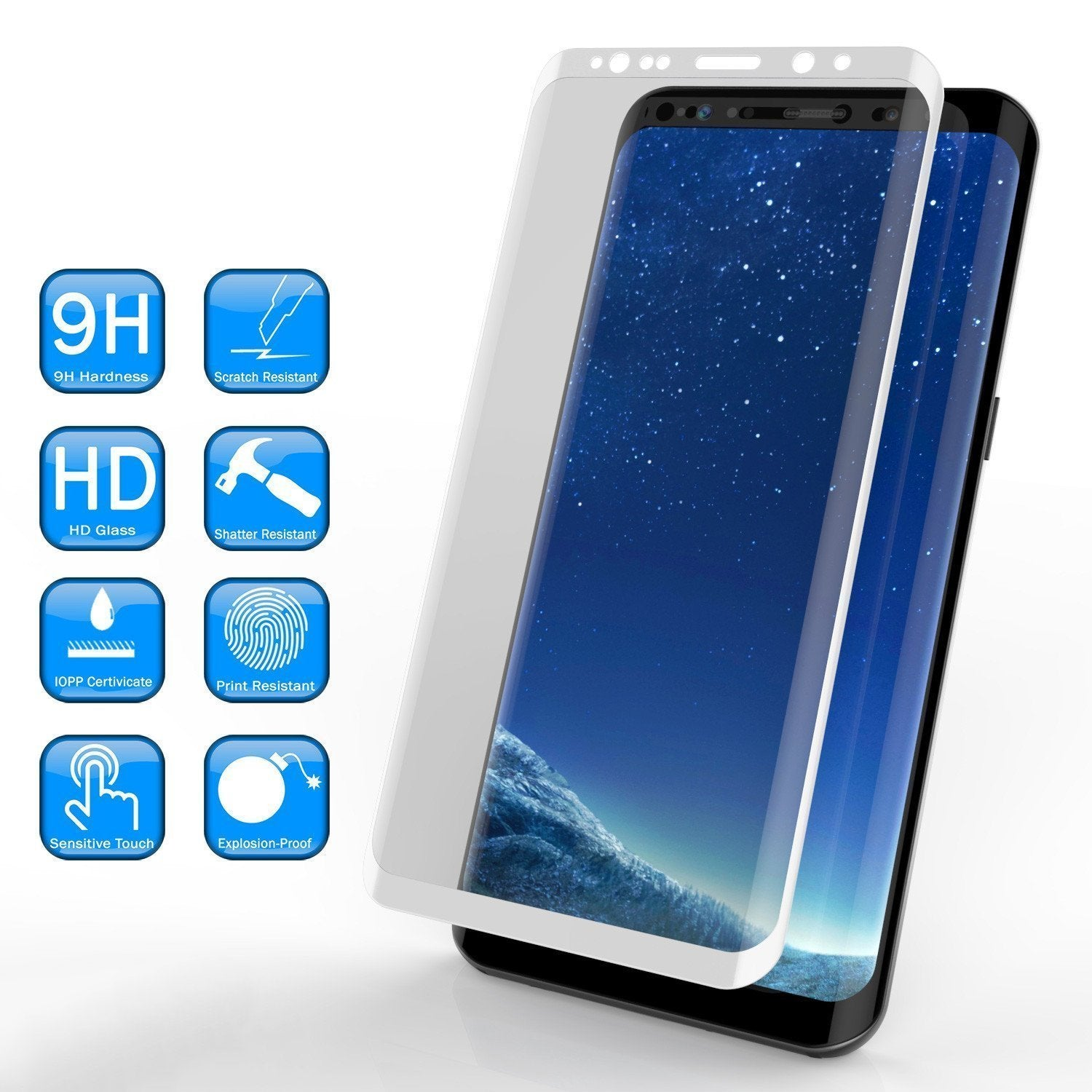 Galaxy S9+ Plus  White Punkcase Glass SHIELD Tempered Glass Screen Protector 0.33mm Thick 9H Glass