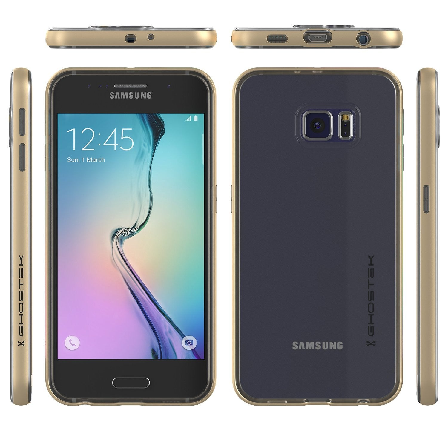 Galaxy S6 Case, Ghostek Cloak Series Gold  Slim Premium Protective Hybrid Impact Glass Armor