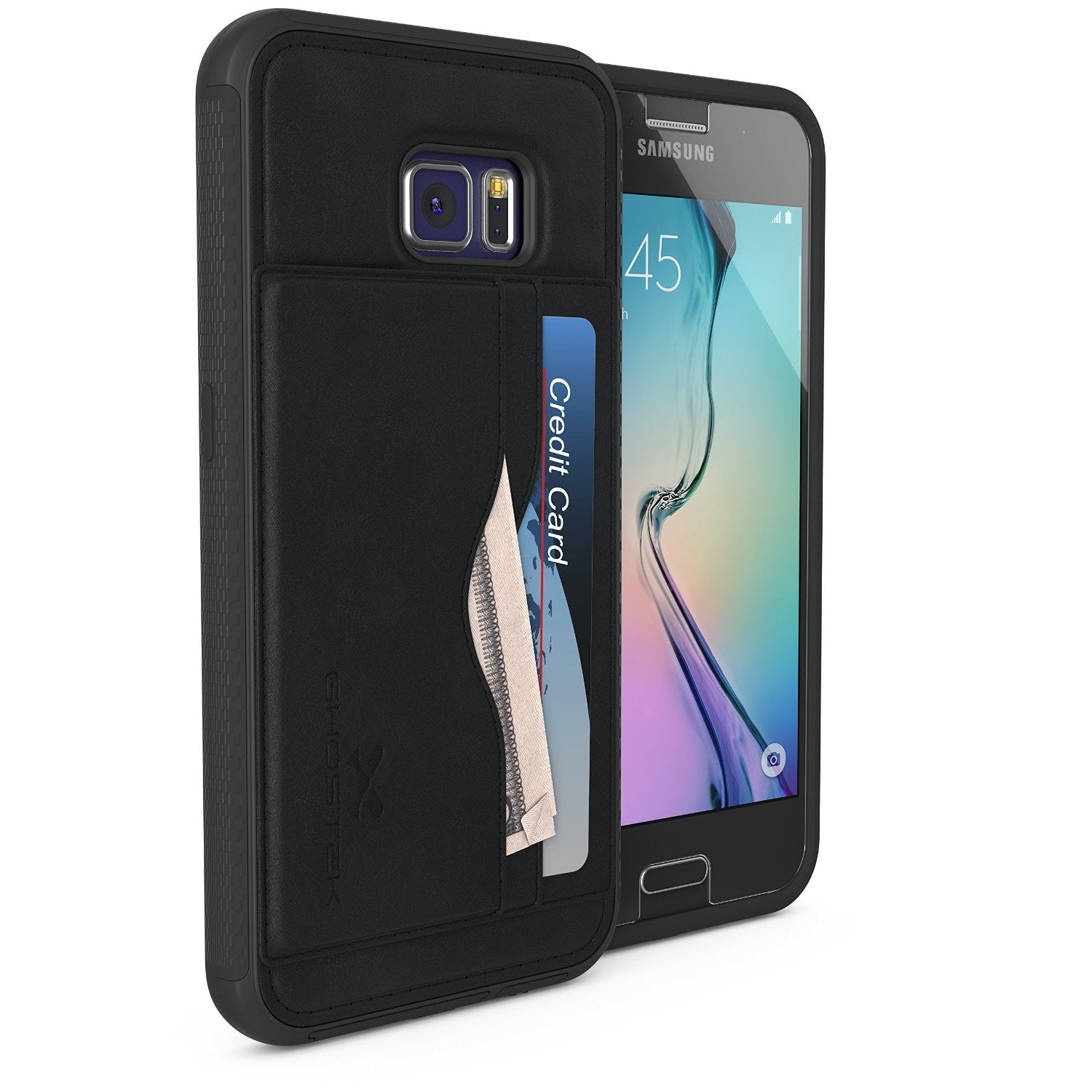 Galaxy S6 Wallet Case, Ghostek Stash Black Wallet Case w/ Tempered Glass | Lifetime Warranty