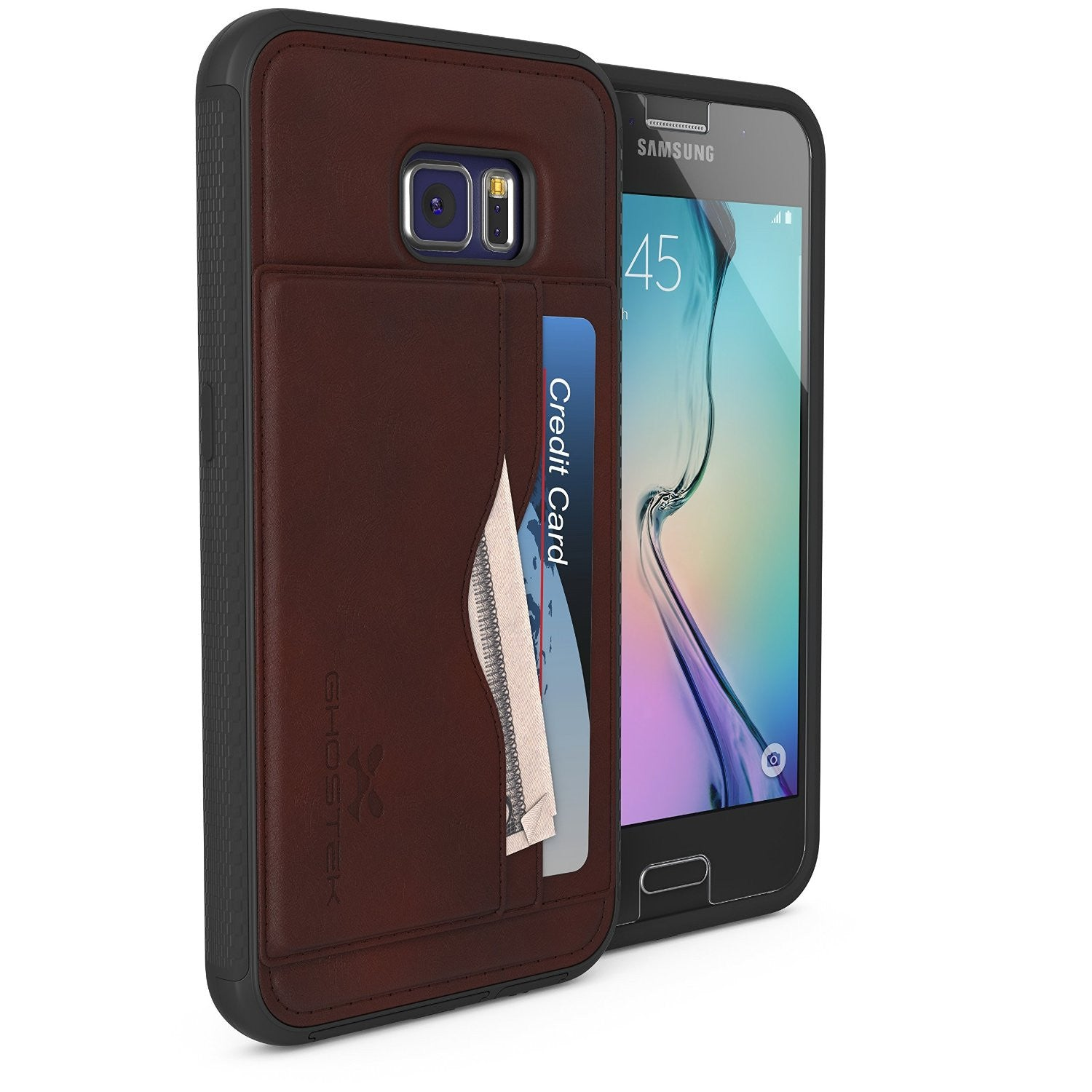 Galaxy S6 Wallet Case, Ghostek Stash Dark Brown Wallet Case w/ Tempered Glass | Lifetime Warranty