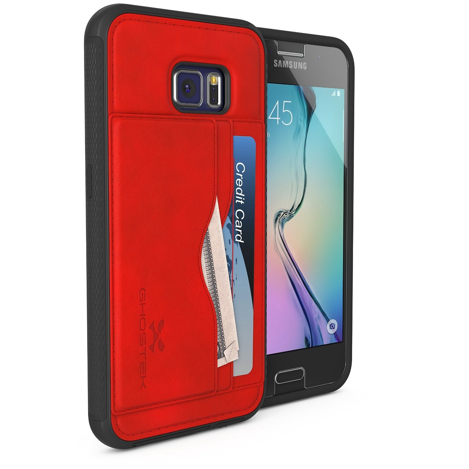 Galaxy S6 Wallet Case, Ghostek Stash Red Wallet Case w/ Tempered Glass | Lifetime Warranty
