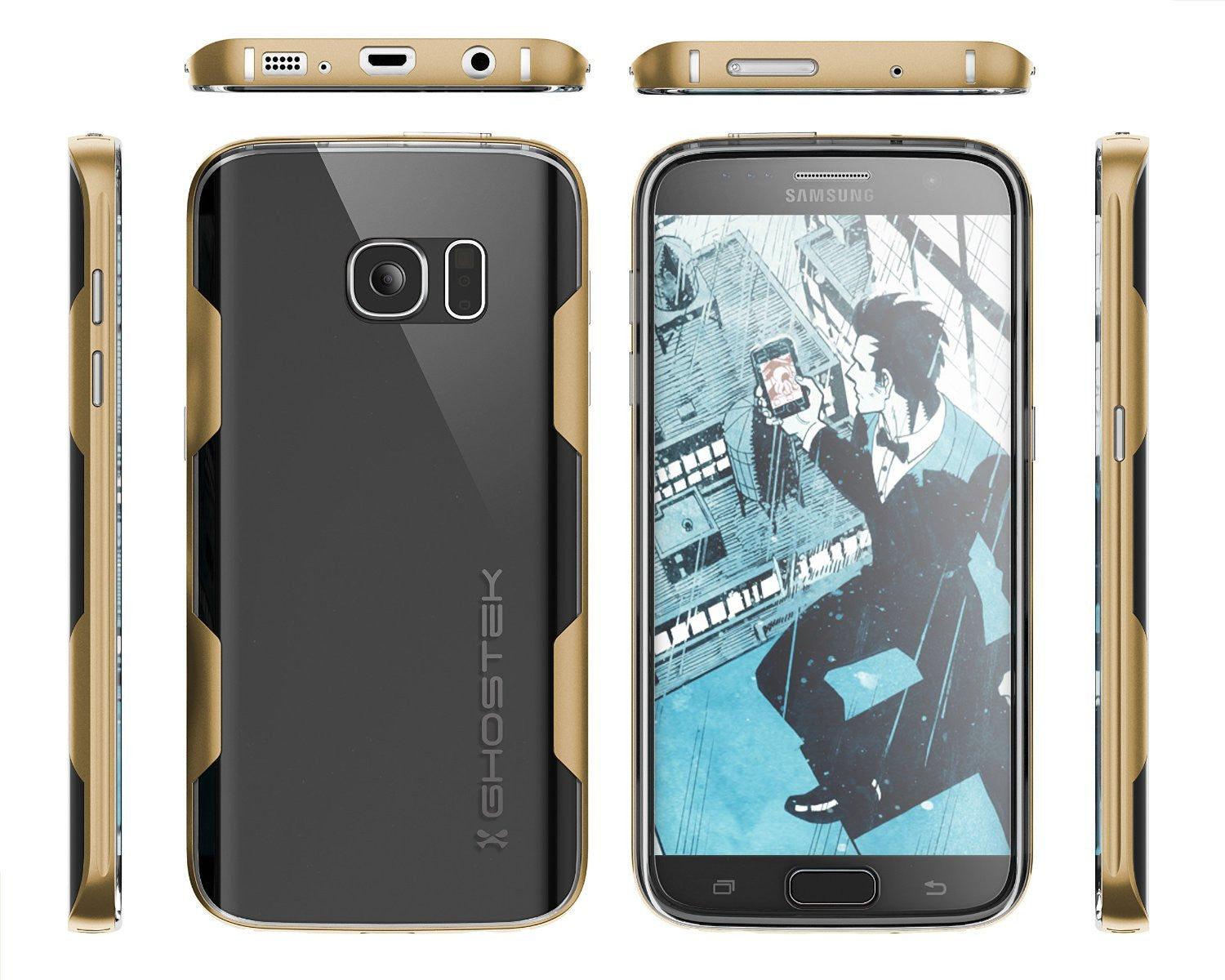 Galaxy S7 Case, Ghostek Cloak Series Gold  Slim Premium Protective Hybrid Impact Glass Armor
