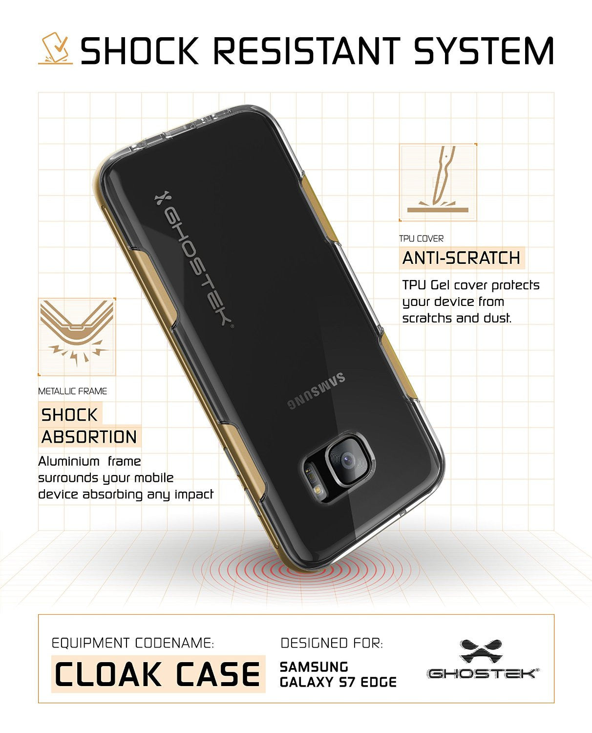 S7 Edge Case Ghostek® Cloak Gold Series Slim | Aluminum Frame Lifetime Warranty Exchange