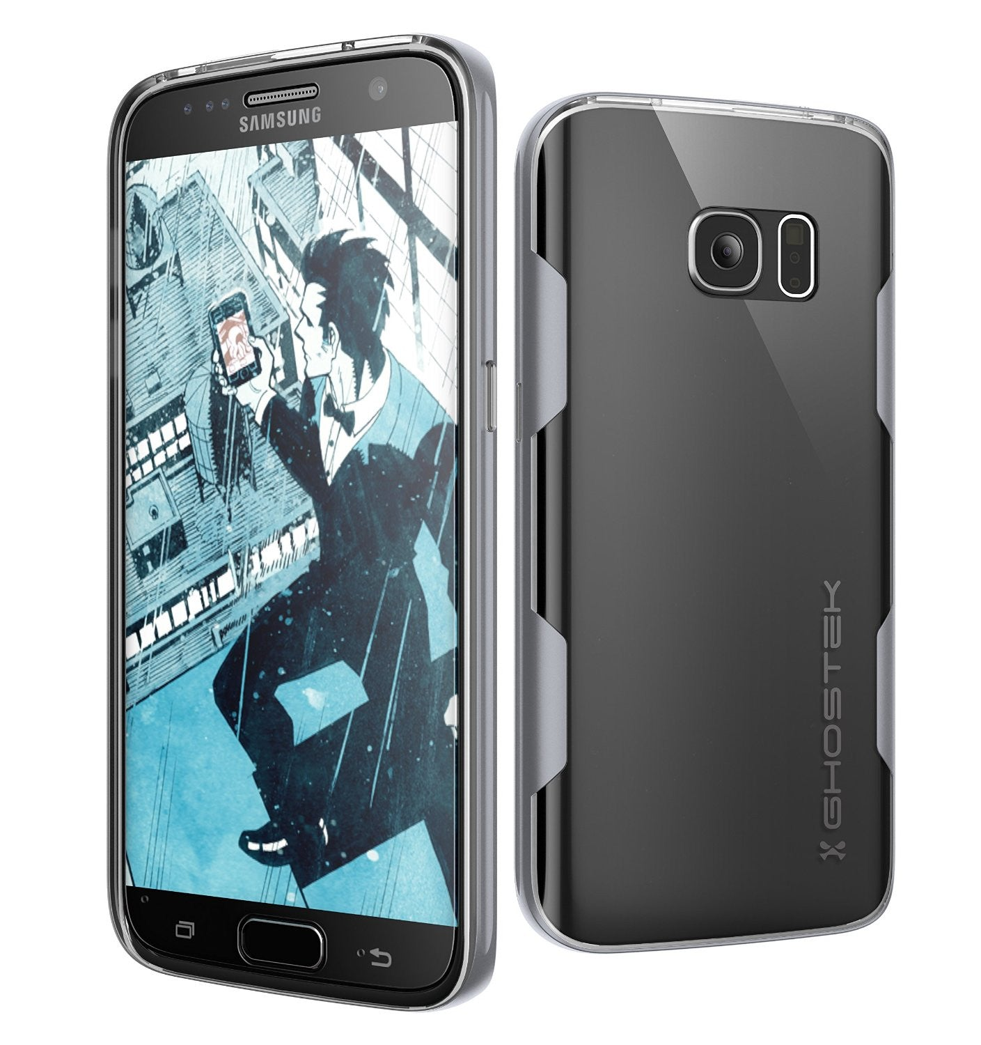 Galaxy S7 Case, Ghostek Cloak Series Silver  Slim Premium Protective Hybrid Impact Glass Armor
