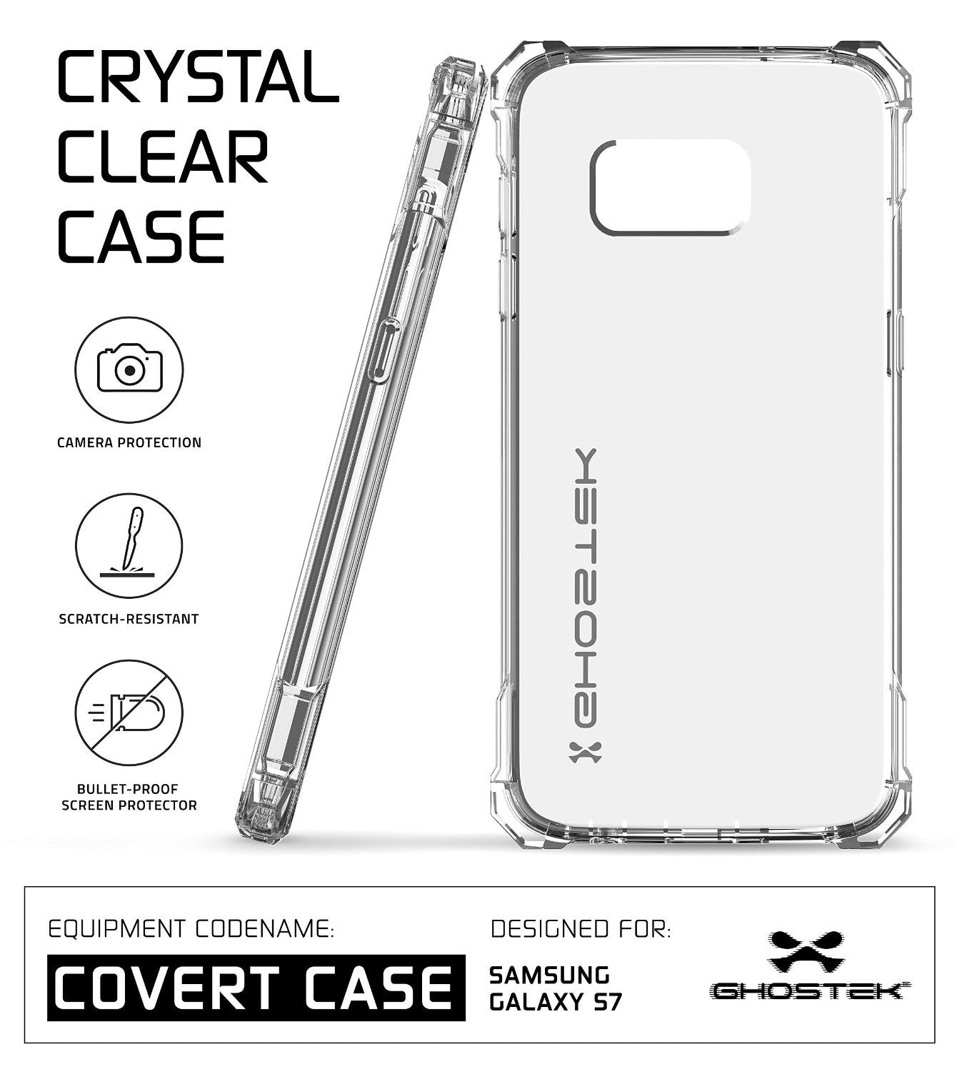 Galaxy S7 Case, Ghostek® Covert Clear Series w/ Premium Impact Cover Screen Protector | Warranty