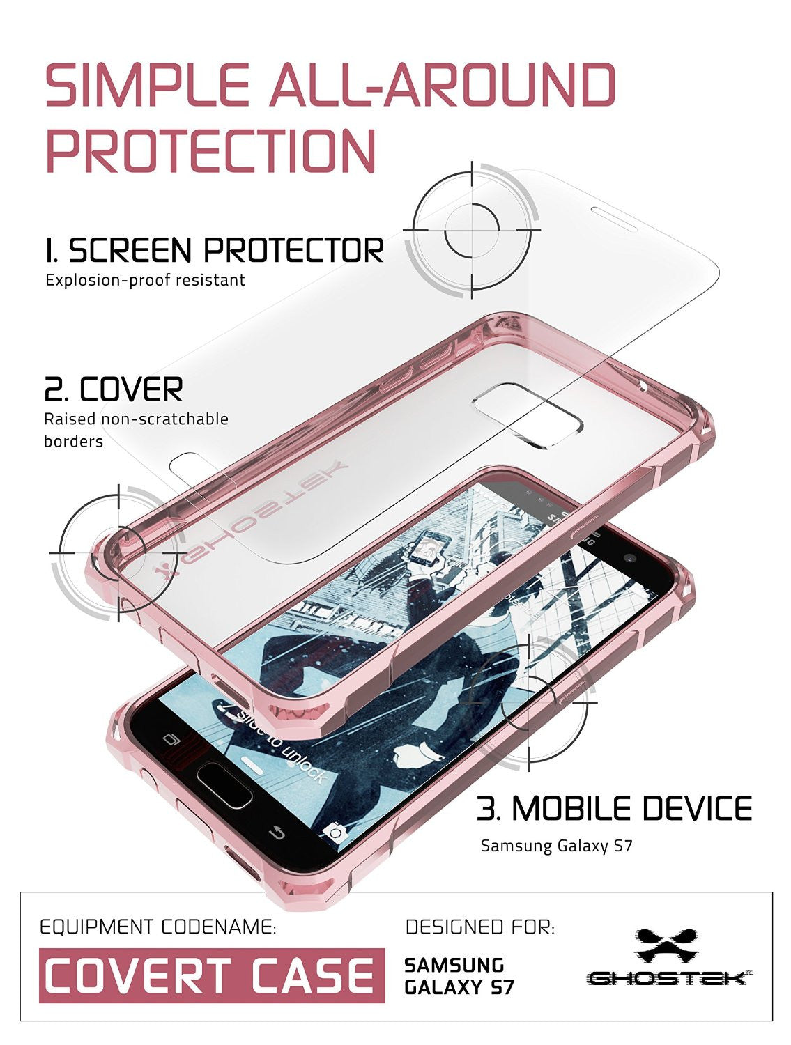 Galaxy S7 Case, Ghostek® Covert Pink Series Premium Impact Cover | Lifetime Warranty Exchange