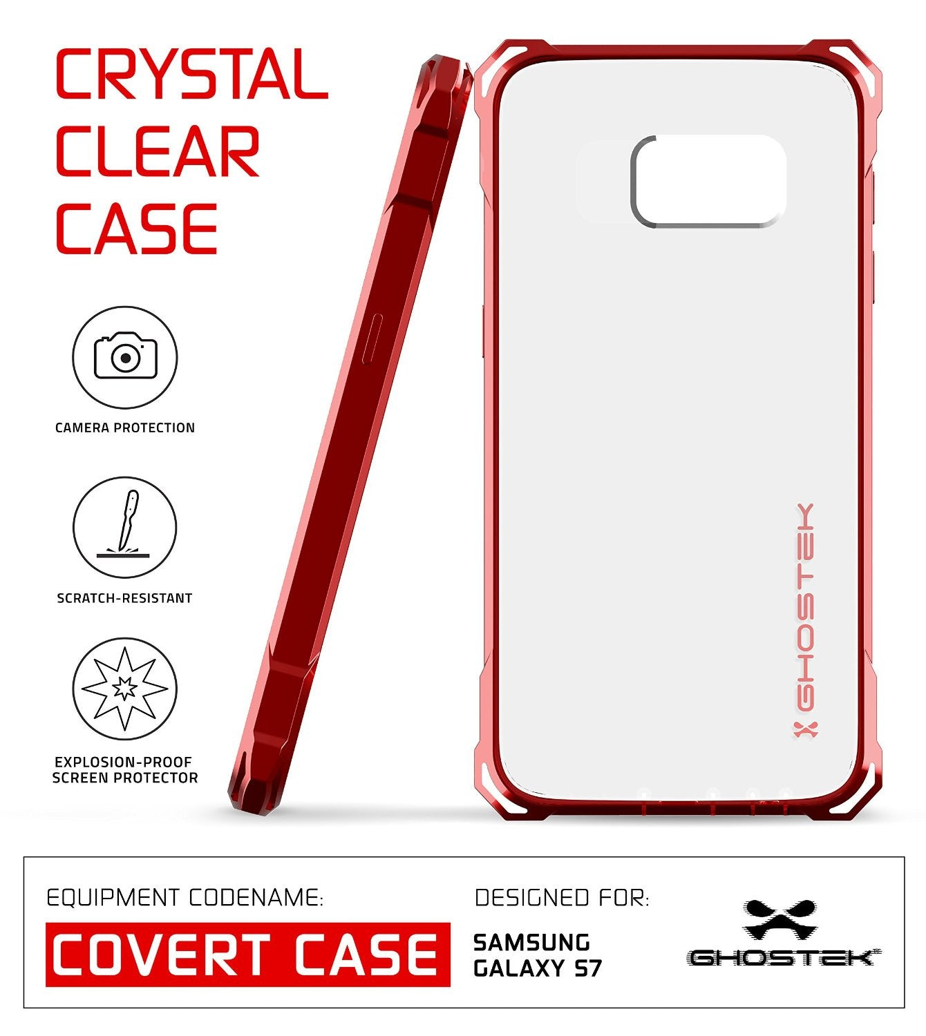Galaxy S7 Case, Ghostek® Covert Red Series Premium Impact Cover | Lifetime Warranty Exchange