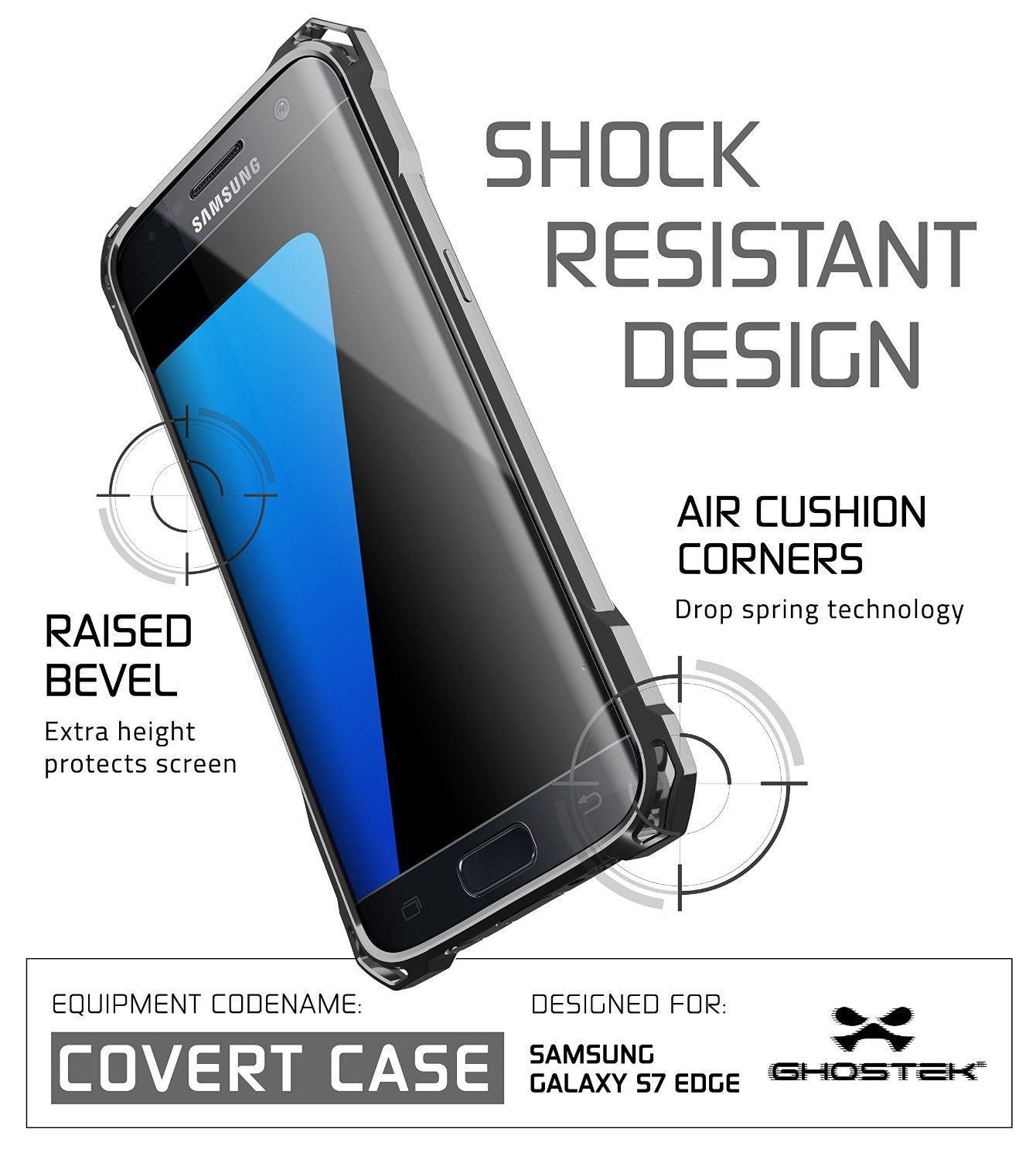 S7 Edge Case, Ghostek® Covert Dark Grey  Premium Impact Cover w/Screen Protector | Warranty
