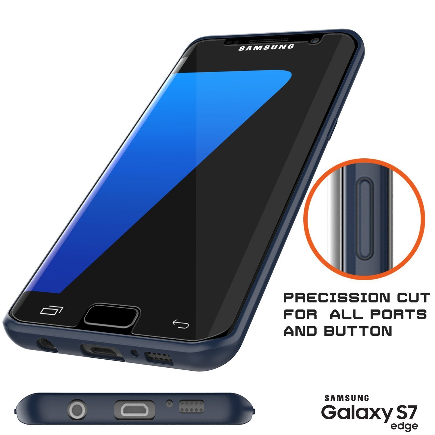 Galaxy S7 Edge Case [MASK Series] [NAVY] Full Body Hybrid Dual Layer TPU Cover W/ Protective PUNKSHIELD Screen Protector