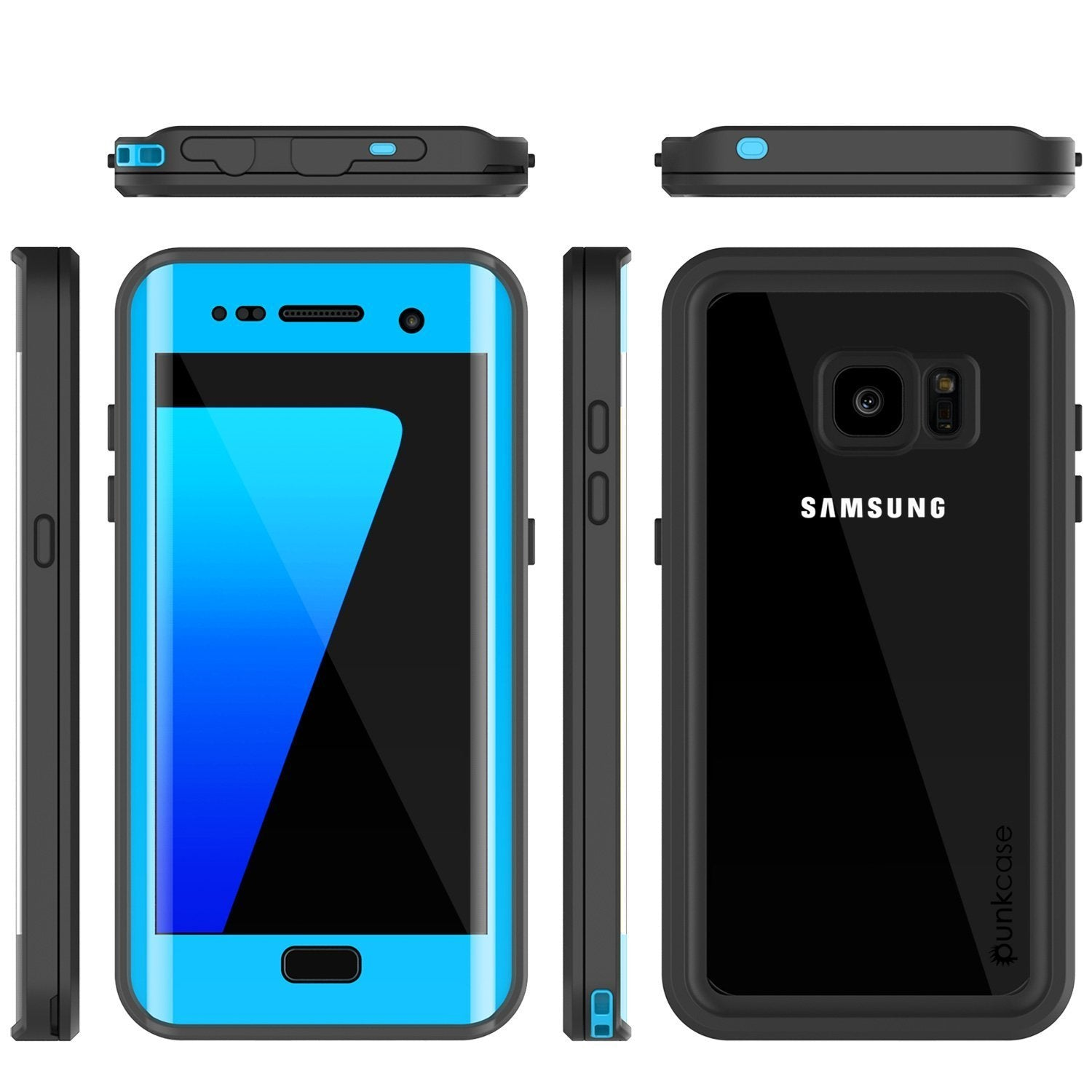 Galaxy S7 Edge Waterproof Case, Punkcase [Extreme Series] [Slim Fit]  Armor Cover W/ Built In Screen Protector [LIGHT BLUE]