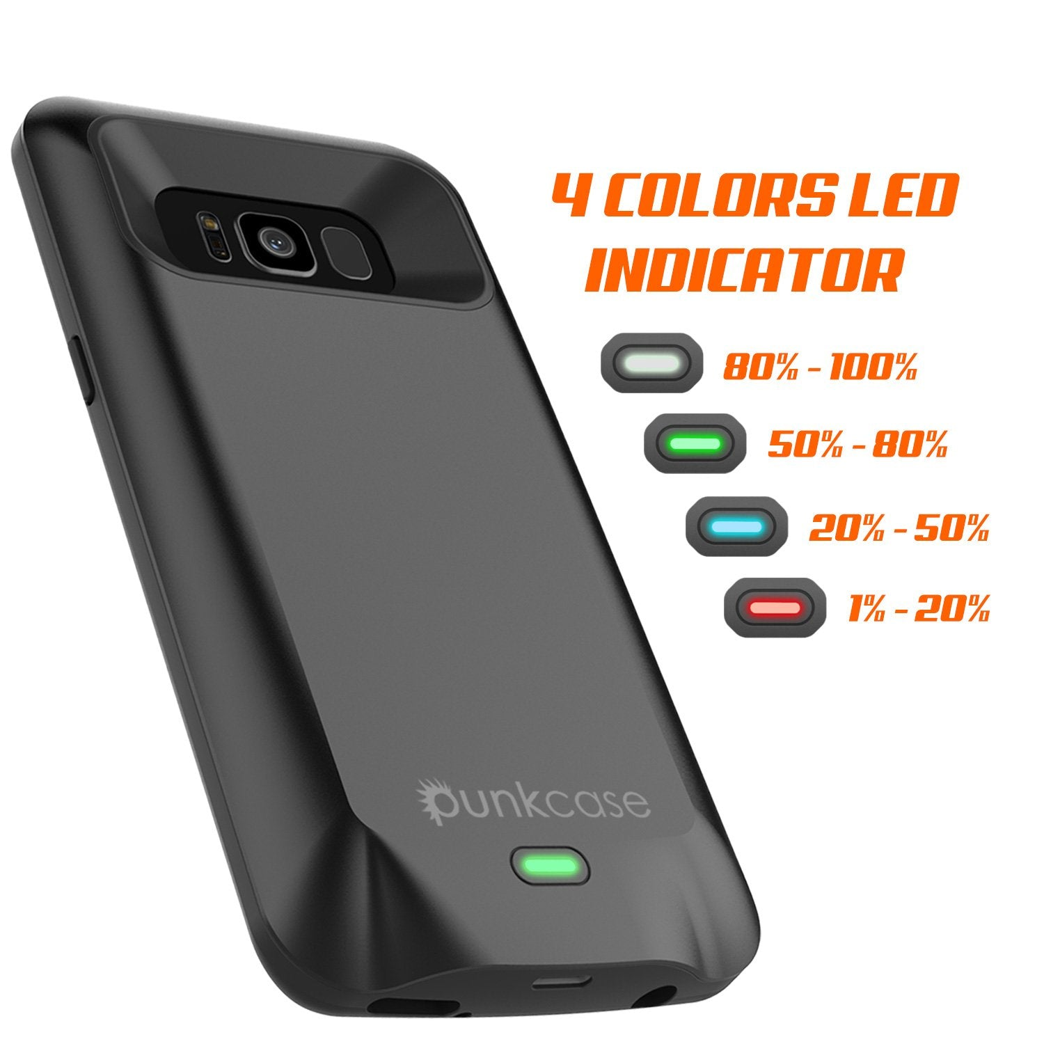 Galaxy S8 Battery Case, Punkcase 5000mAH Charger Case W/ Screen Protector | Integrated Kickstand & USB Port | IntelSwitch [Black]