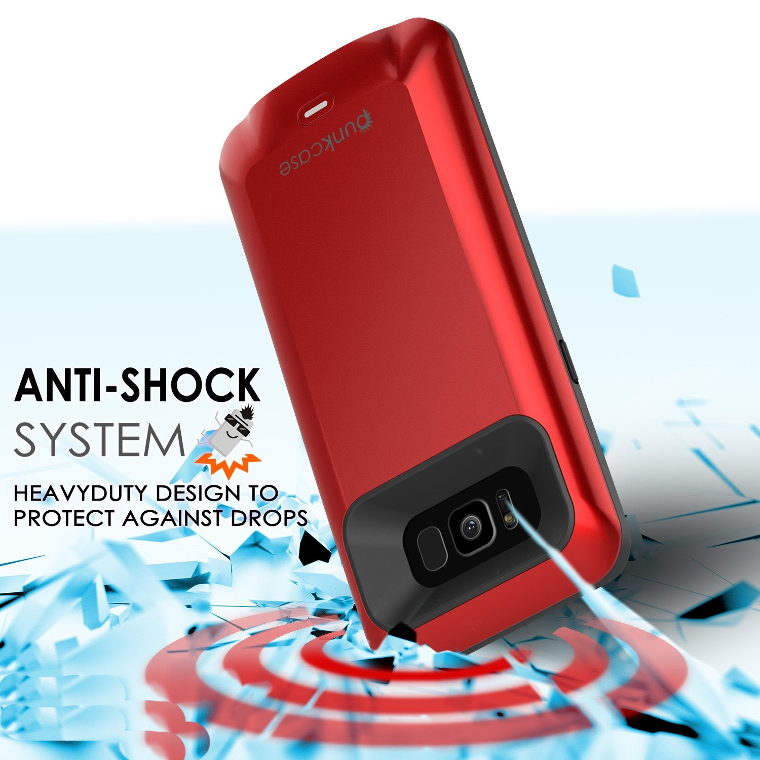 Galaxy S8 Battery Case, Punkcase 5000mAH Charger Case W/ Screen Protector | Integrated Kickstand & USB Port | IntelSwitch [Red]