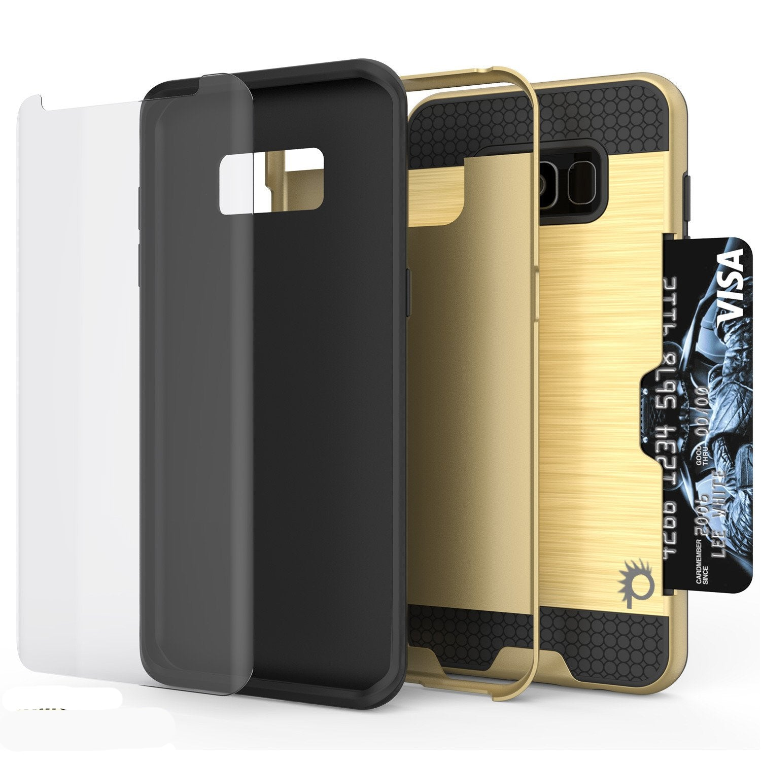 Galaxy S8 Plus Case, PUNKcase [SLOT Series] [Slim Fit] Dual-Layer Armor Cover w/Integrated Anti-Shock System [Gold]