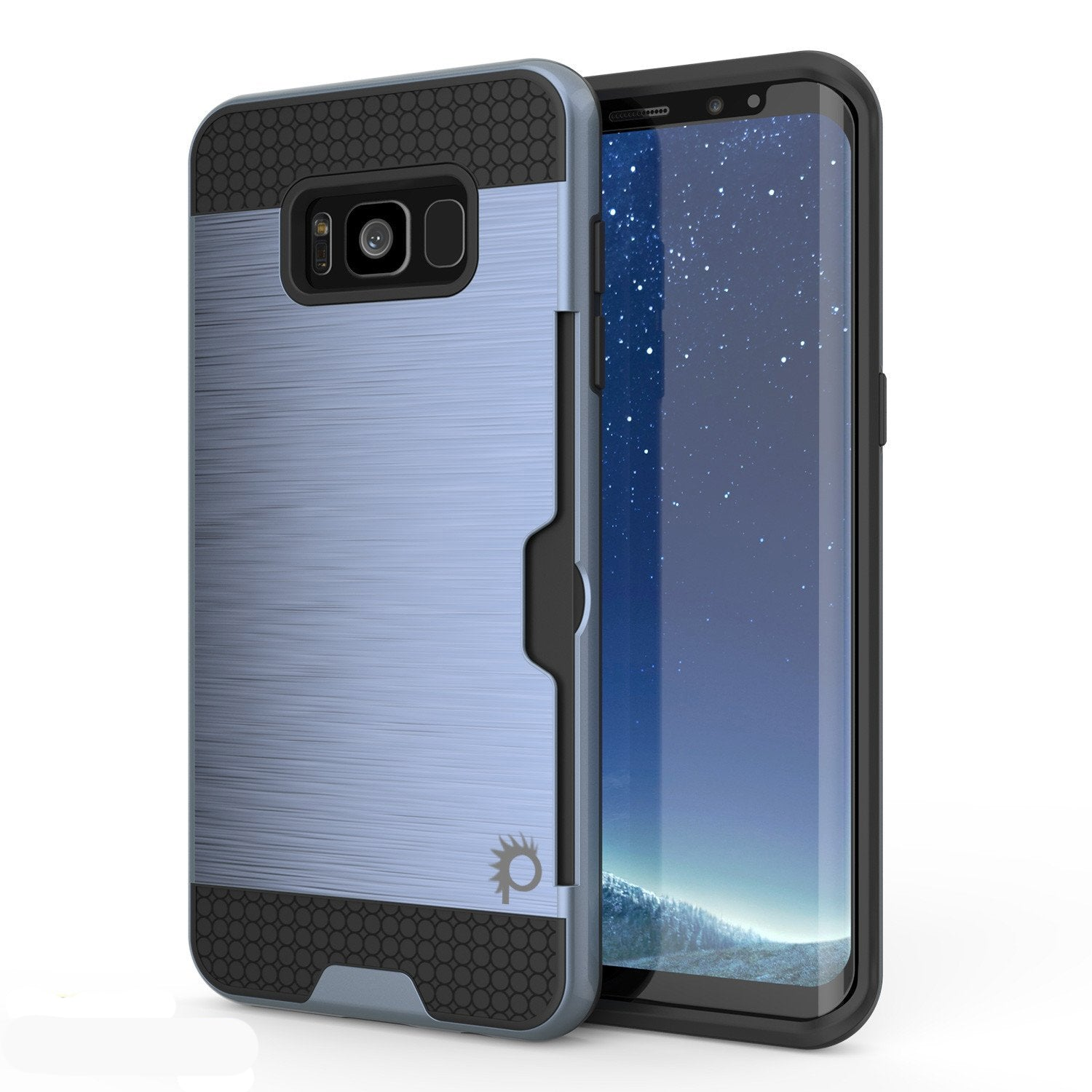 Galaxy S8 Case, PUNKcase [SLOT Series] [Slim Fit] Dual-Layer Armor Cover w/Integrated Anti-Shock System, Credit Card Slot [Navy]