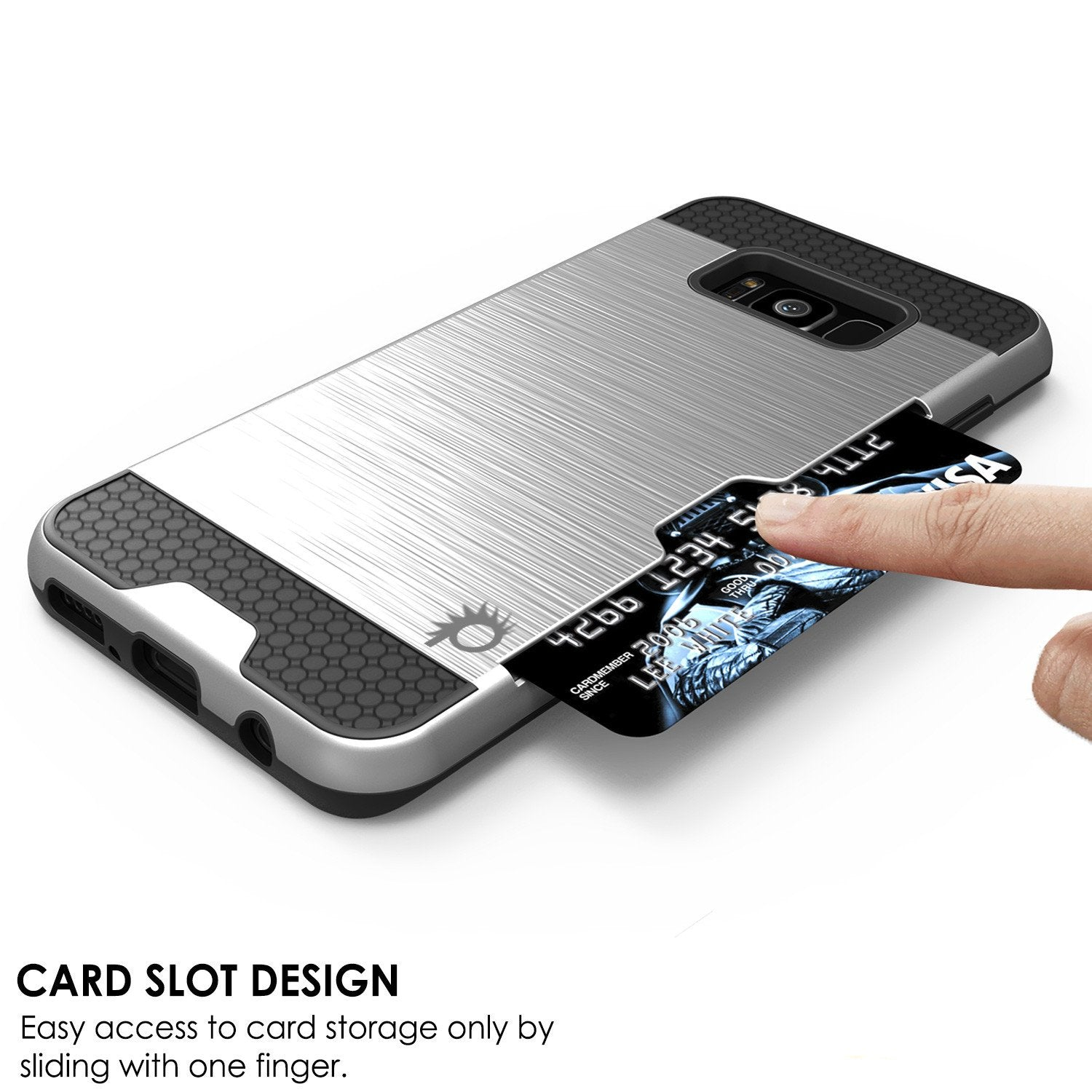 Galaxy S8 Case, PUNKcase [SLOT Series] [Slim Fit] Dual-Layer Armor Cover w/Integrated Anti-Shock System, Credit Card Slot [Silver]