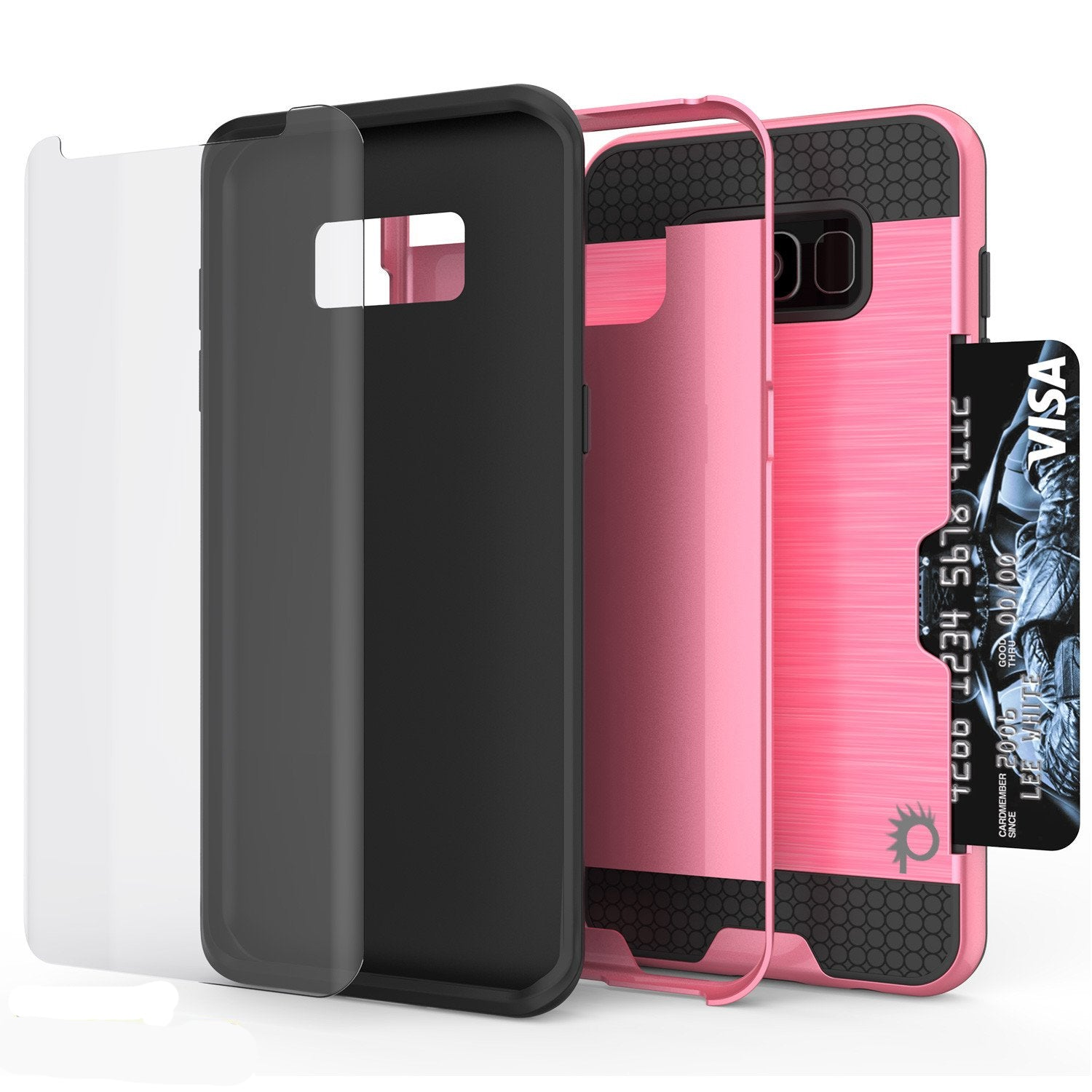 Galaxy S8 Plus Case, PUNKcase [SLOT Series] [Slim Fit] Dual-Layer Armor Cover w/Integrated Anti-Shock System [Pink]