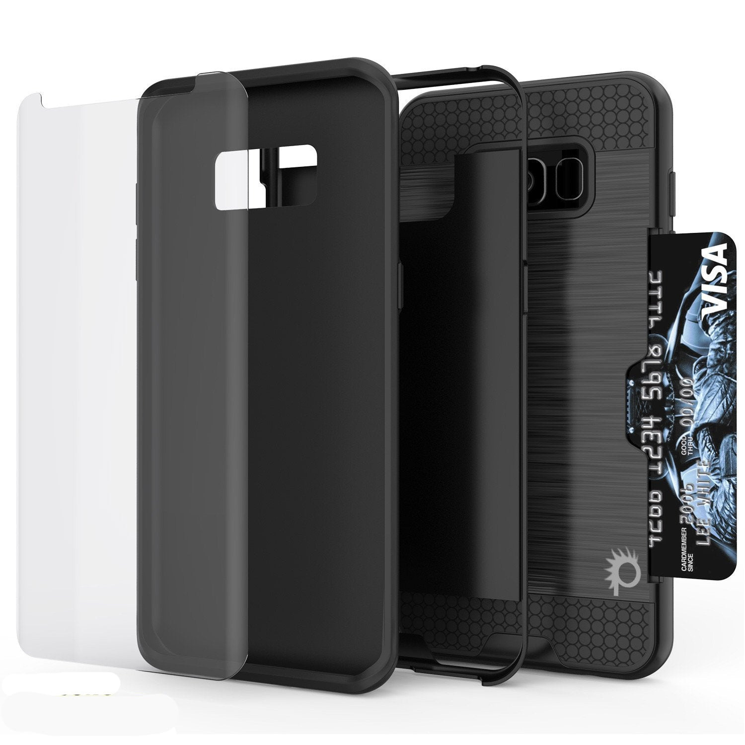 Galaxy S8 Case, PUNKcase [SLOT Series] [Slim Fit] Dual-Layer Armor Cover w/Integrated Anti-Shock System, Credit Card Slot [Black]