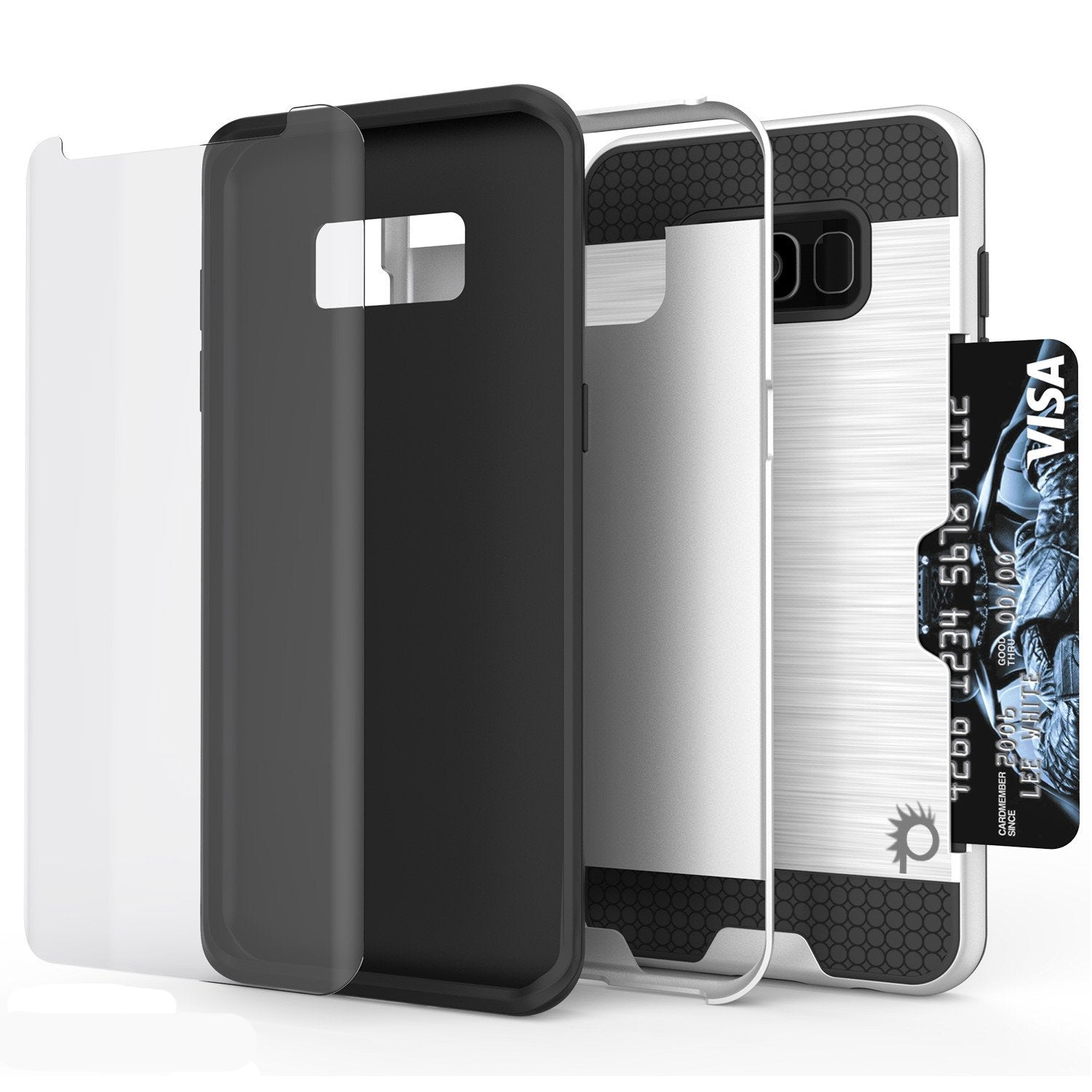 Galaxy S8 Case, PUNKcase [SLOT Series] [Slim Fit] Dual-Layer Armor Cover w/Integrated Anti-Shock System, Credit Card Slot & Screen Protector