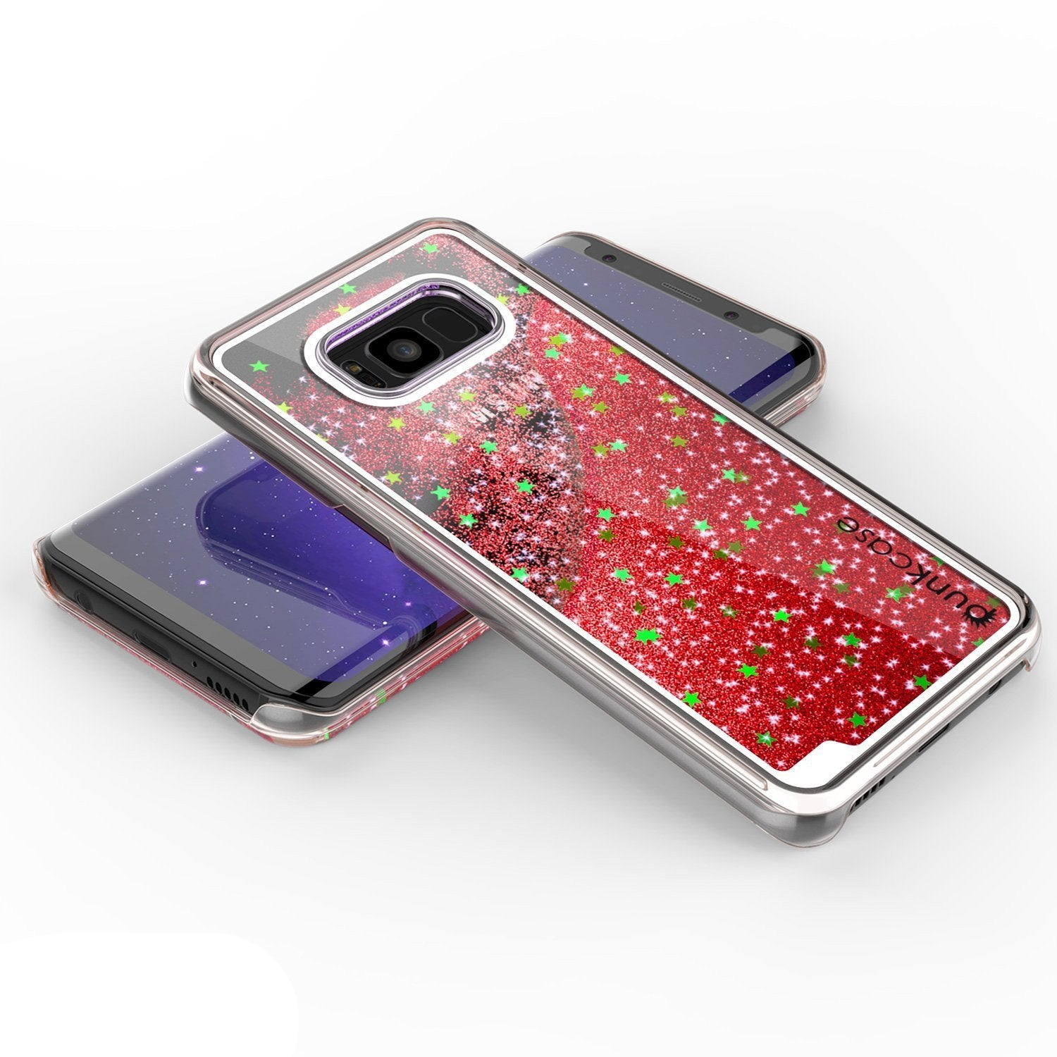 Galaxy S8 Case, Punkcase Liquid Red Series Protective Dual Layer Floating Glitter Cover