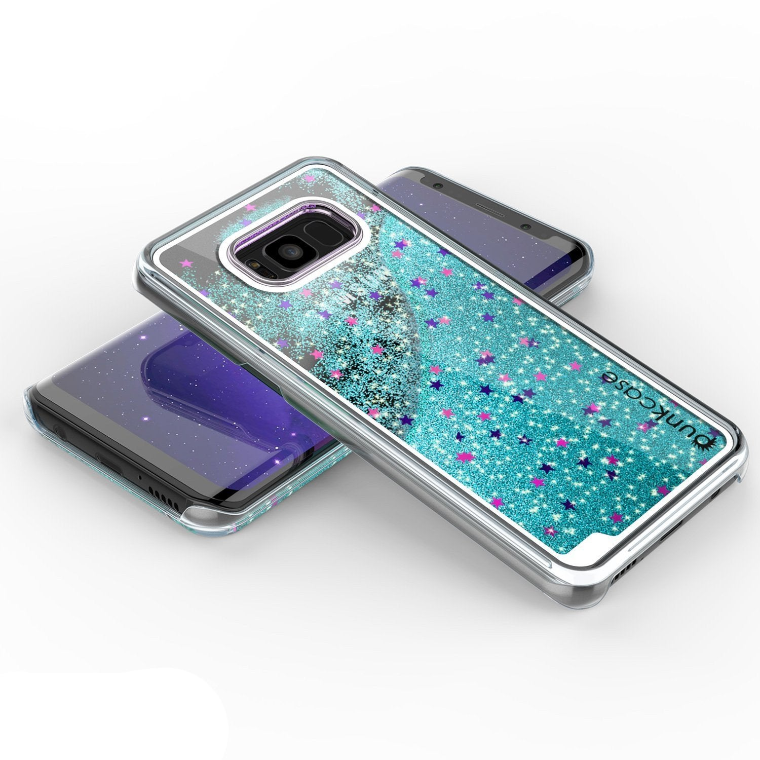 S8 Plus Case, Punkcase Liquid Teal Series Protective Dual Layer Floating Glitter Cover