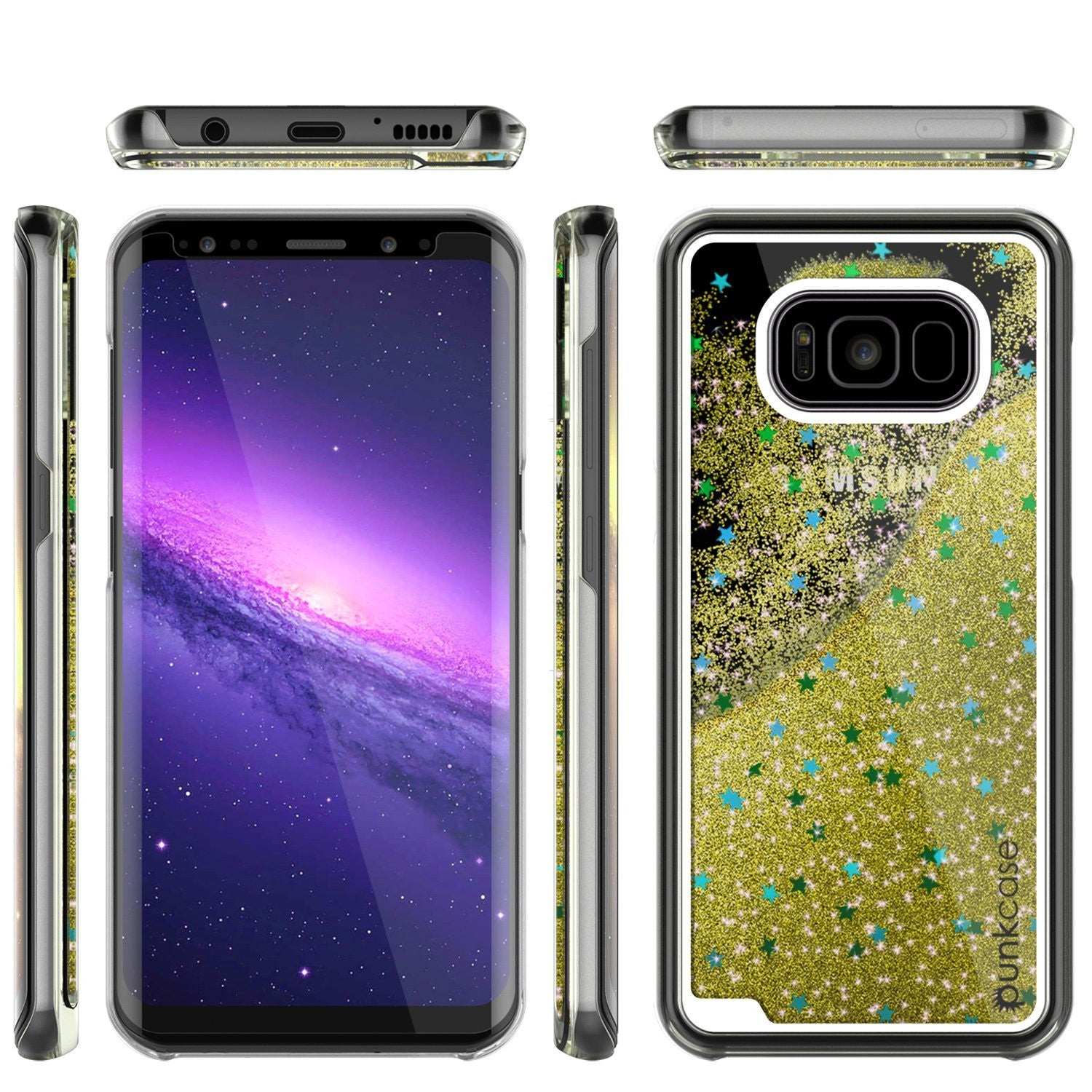Galaxy S8 Case, Punkcase Liquid Gold Series Protective Dual Layer Floating Glitter Cover