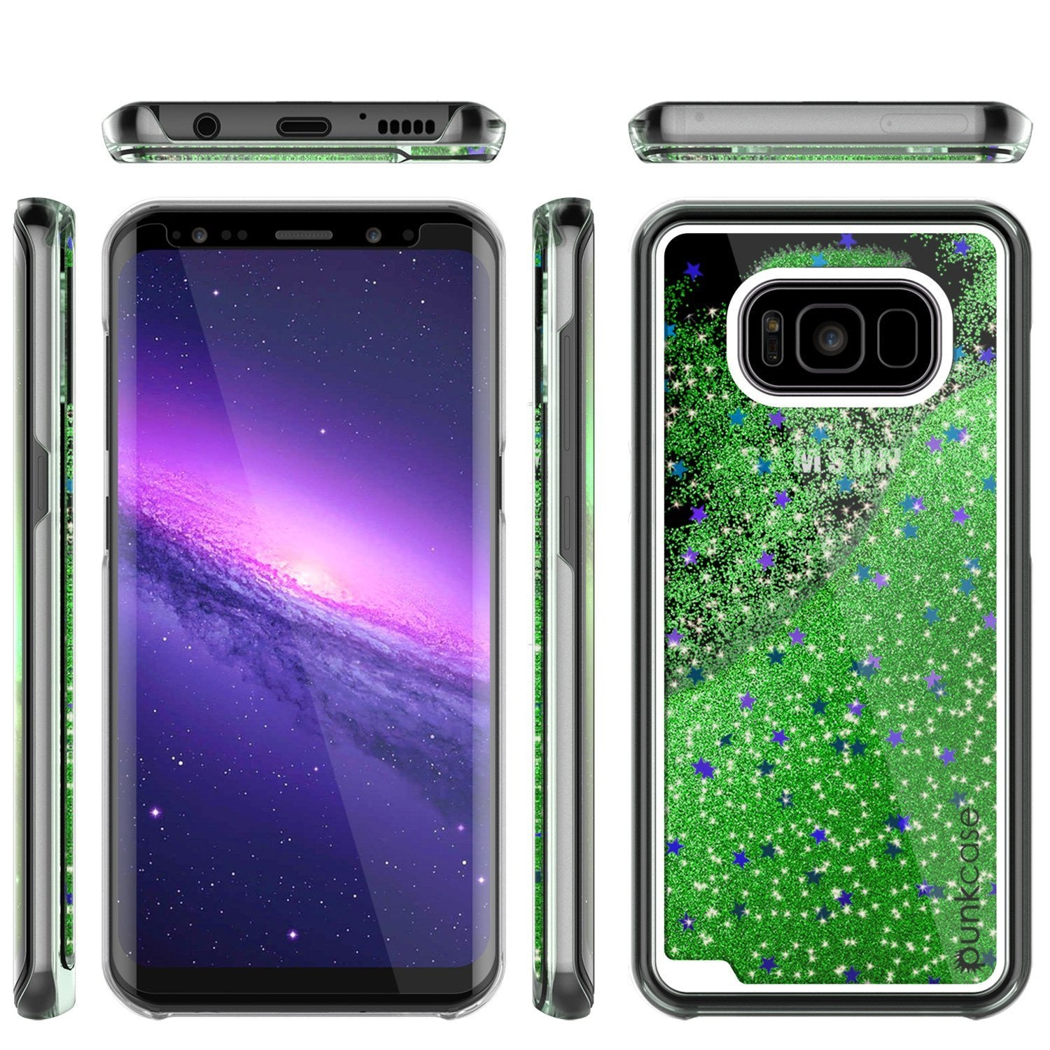 Galaxy S8 Case, Punkcase Liquid Green Series Protective Dual Layer Floating Glitter Cover
