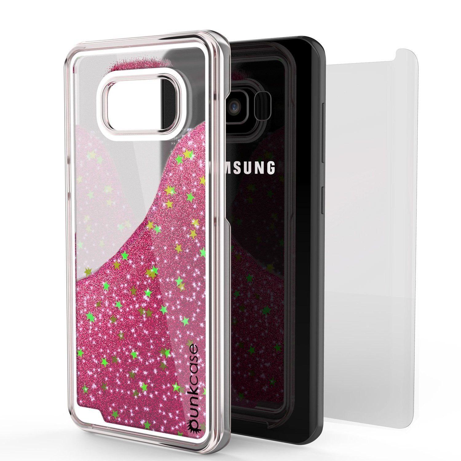 Galaxy S8 Case, Punkcase Liquid Pink Series Protective Dual Layer Floating Glitter Cover