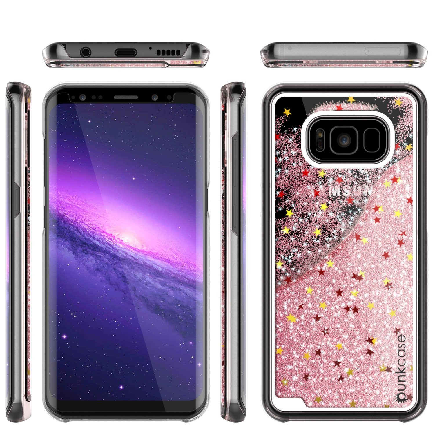 Galaxy S8 Case, Punkcase Liquid Rose Gold Series Protective Dual Layer Floating Glitter Cover