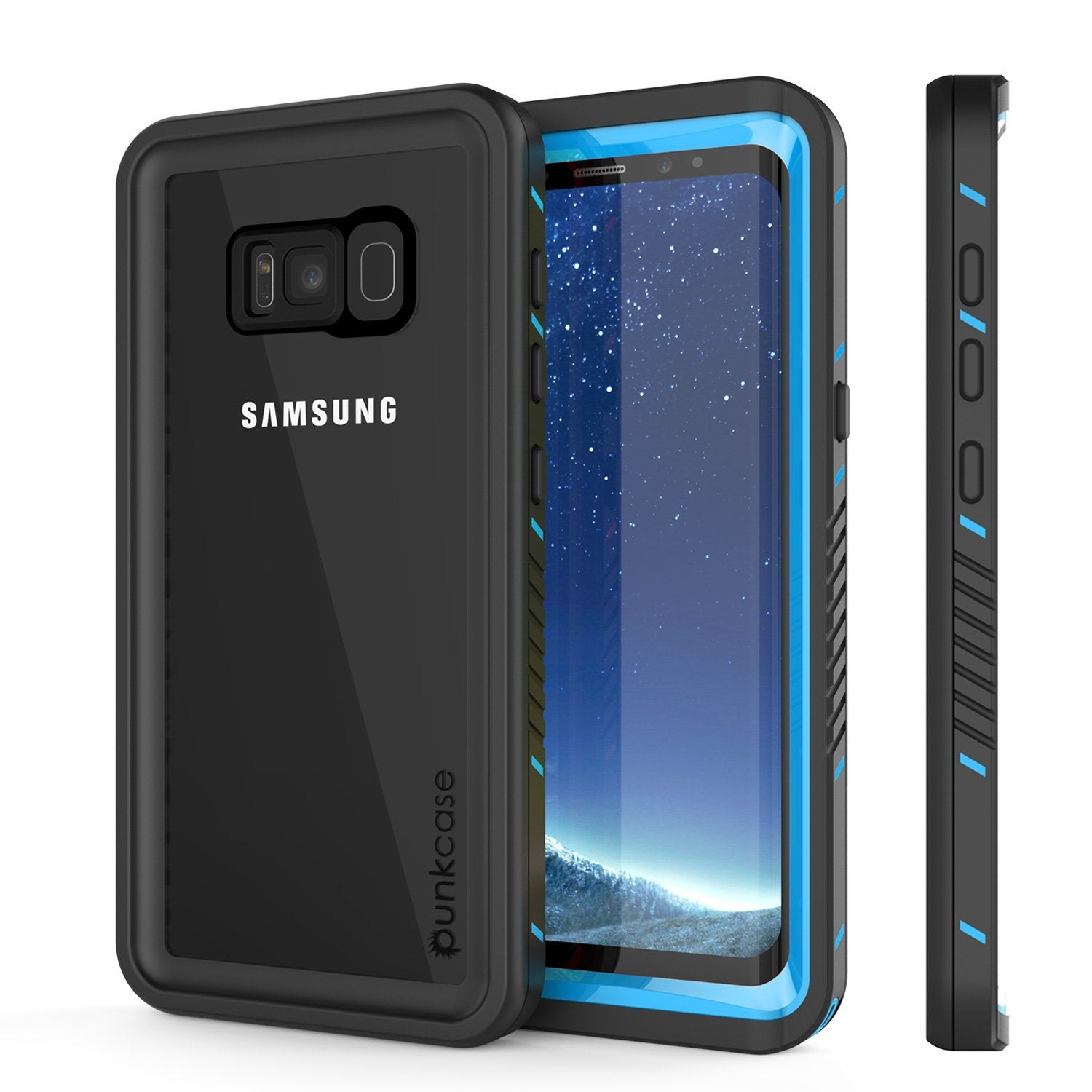 Galaxy S8 PLUS Waterproof Case, Punkcase [Extreme Series] [Slim Fit] [IP68 Certified] Built In Screen Protector [Light Blue]