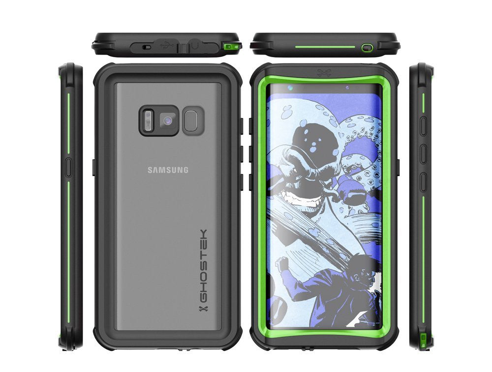 Galaxy S8 Plus Waterproof Case, Ghostek Nautical Series (Green) | Slim Underwater Full Body Protection