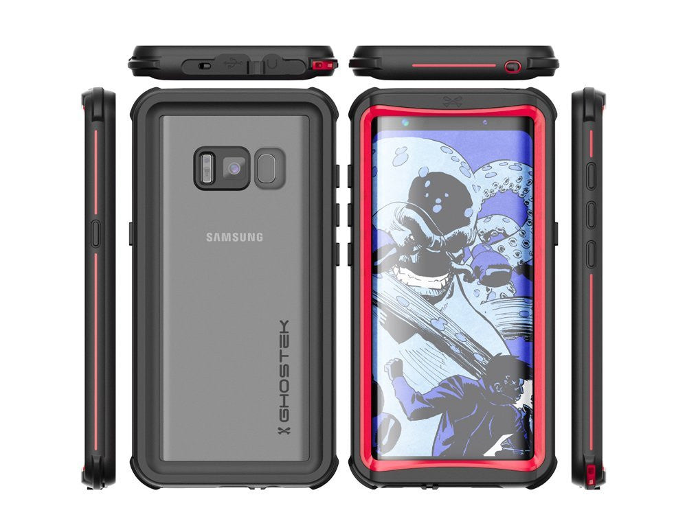 Galaxy S8 Plus Waterproof Case, Ghostek Nautical Series (Red) | Slim Underwater Full Body Protection