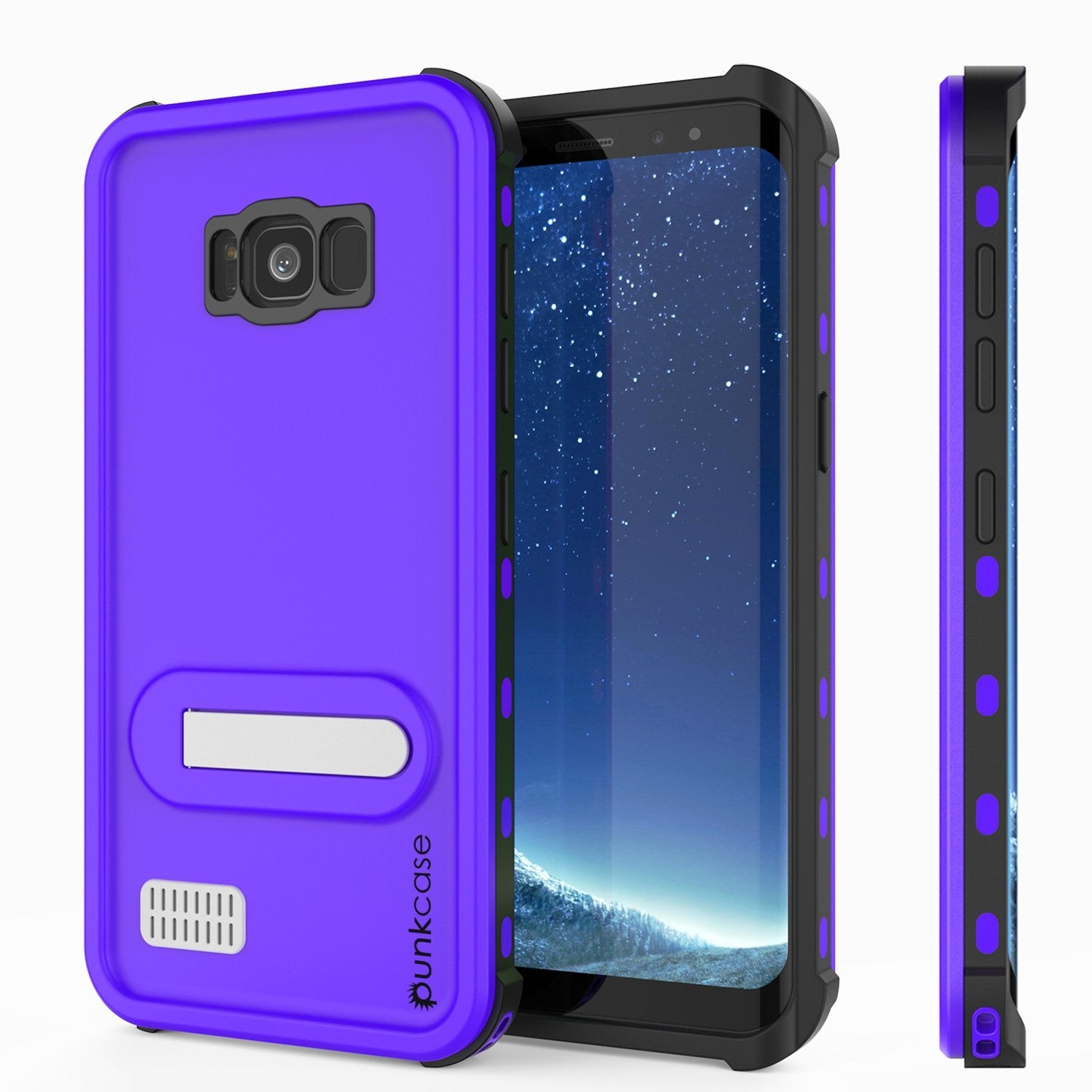 Galaxy S8 Plus Waterproof Case, Punkcase [KickStud Series] [Slim Fit] [IP68 Certified] [Shockproof] [Snowproof] Armor Cover [PURPLE]