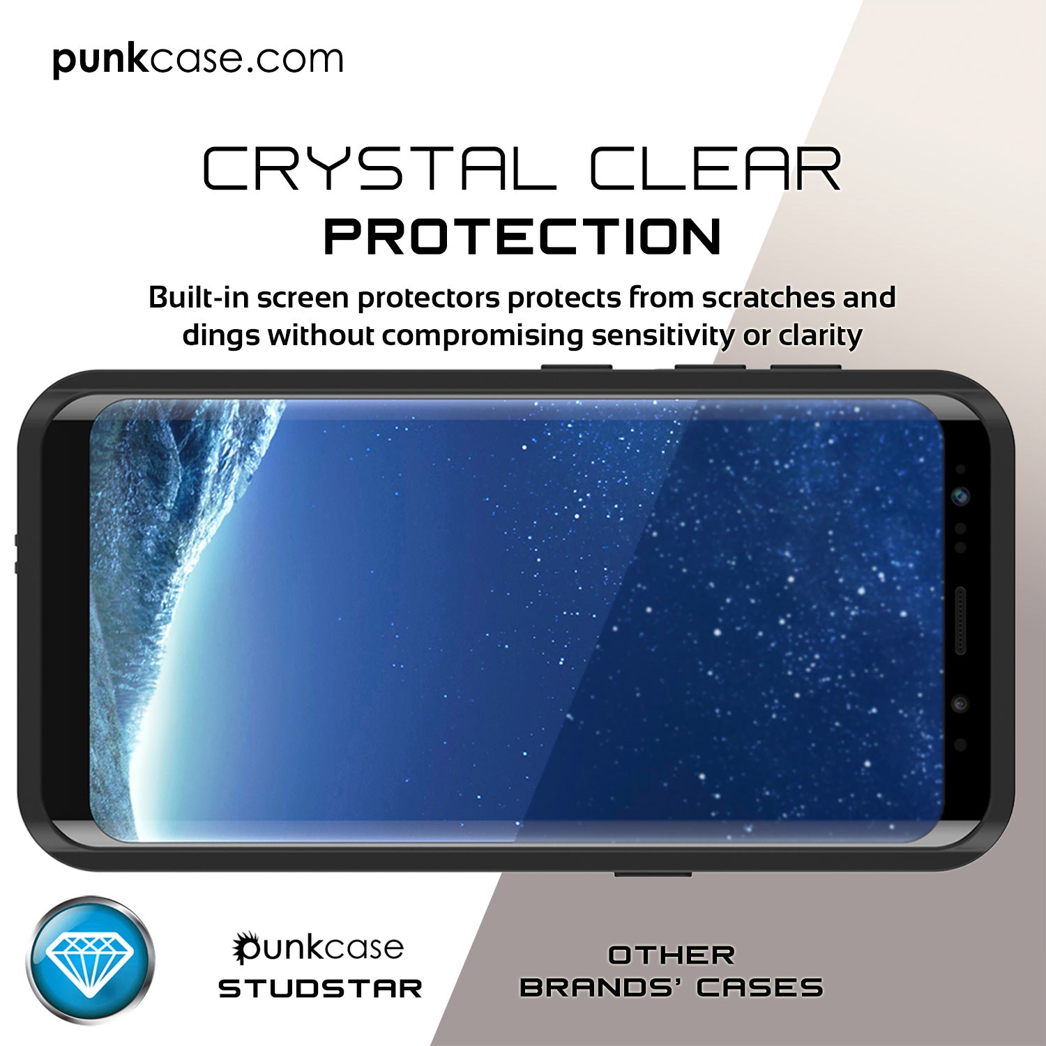 Galaxy S8 Plus Waterproof Case PunkCase StudStar Clear Thin 6.6ft Underwater IP68 Shock/Snow Proof