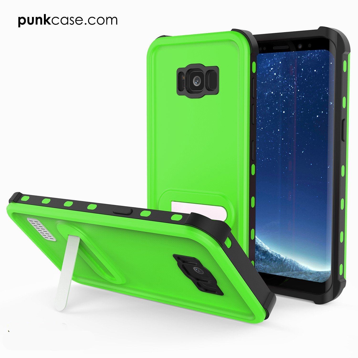 Galaxy S8 Waterproof Case, Punkcase [KickStud Series] [Slim Fit] [IP68 Certified] [Shockproof] [Snowproof] Armor Cover W/ Built-In Kickstand [GREEN]