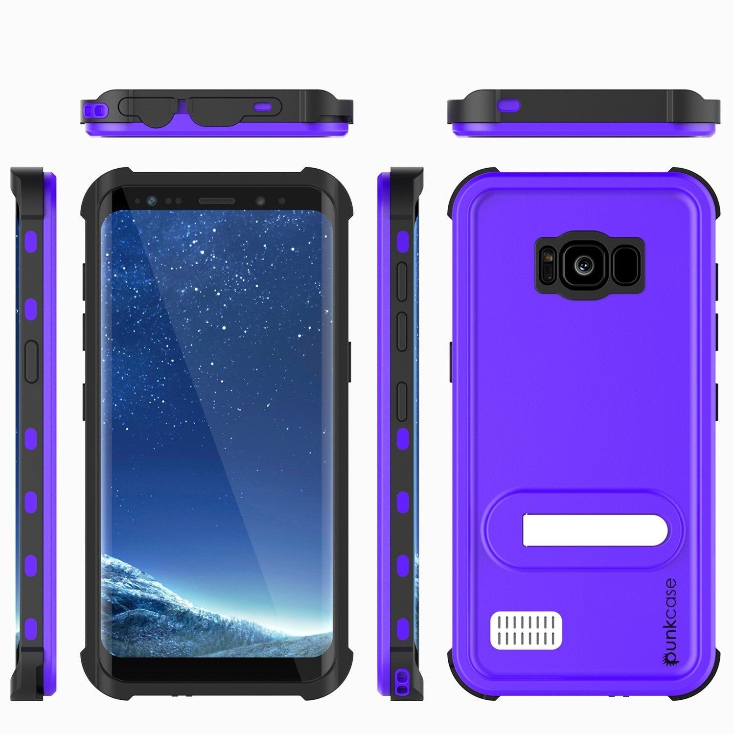 Galaxy S8 Waterproof Case, Punkcase KickStud Purple Series, [Slim Fit] [IP68 Certified] [Shockproof] [Snowproof] Armor Cover.