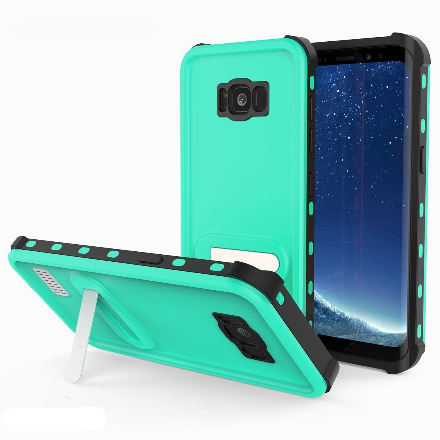 Galaxy S8 Waterproof Case, Punkcase [KickStud Series] [Slim Fit] [IP68 Certified] [Shockproof] [Snowproof] Armor Cover W/ Built-In Kickstand [TEAL]