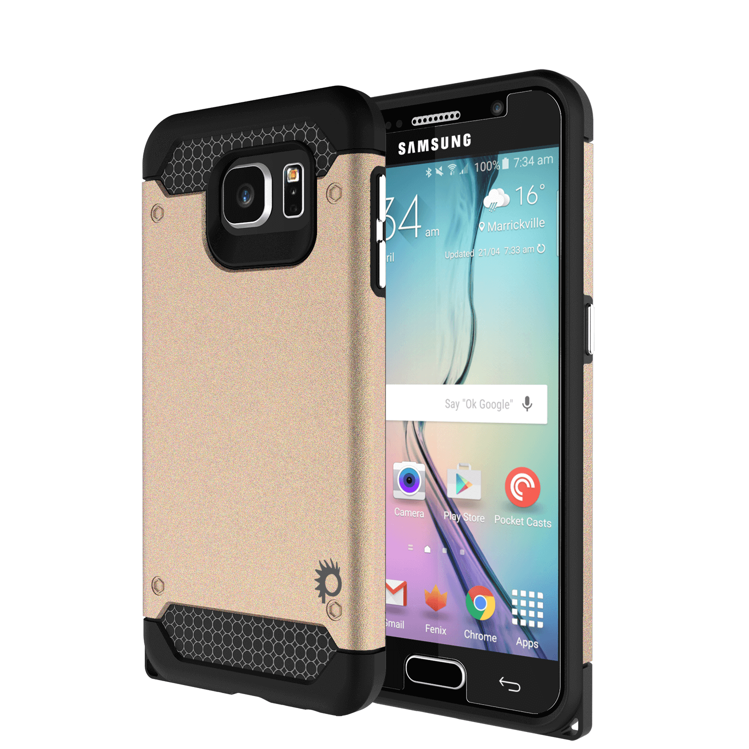 Galaxy s6 Case PunkCase Galactic Gold Series Slim Armor Soft Cover Case w/ Tempered Glass